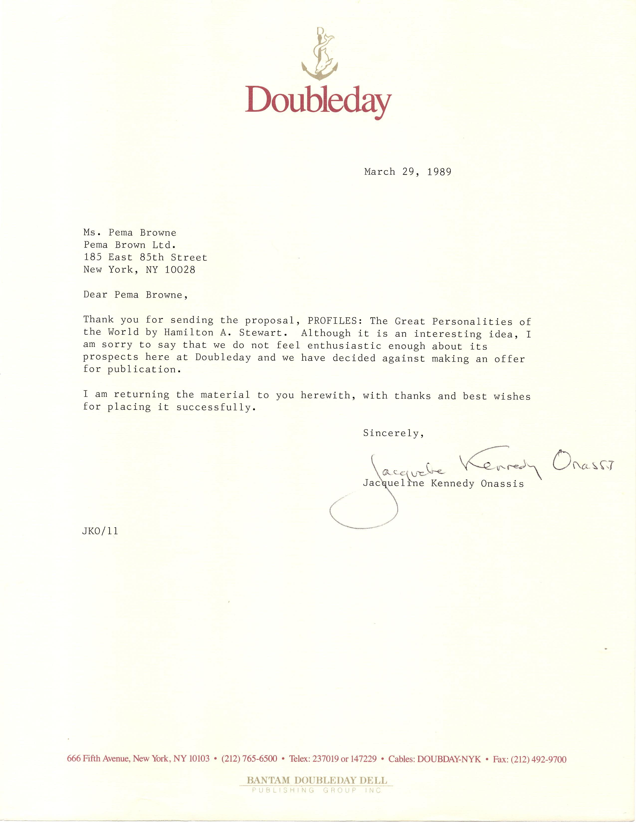 Jackie Kennedy Typed Letter Signed, While Working at Doubleday