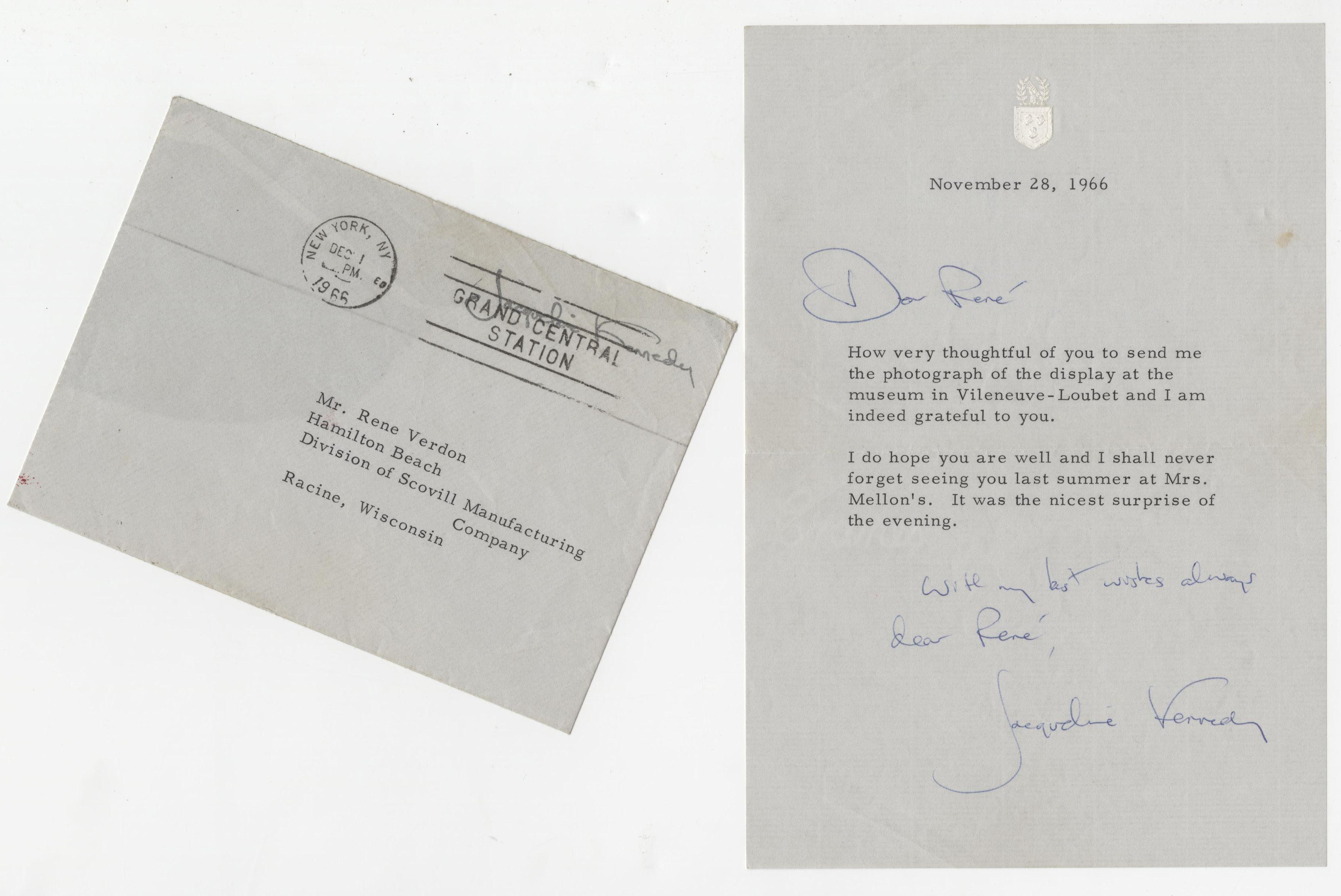 Jacqueline Kennedy Signed Letter With Warm Inscription to Her White House Chef