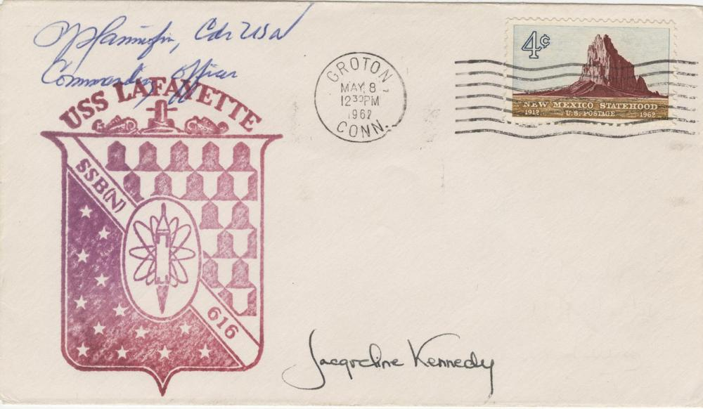 Jacqueline Kennedy Signed FDC of the Launch of the USS Lafayette