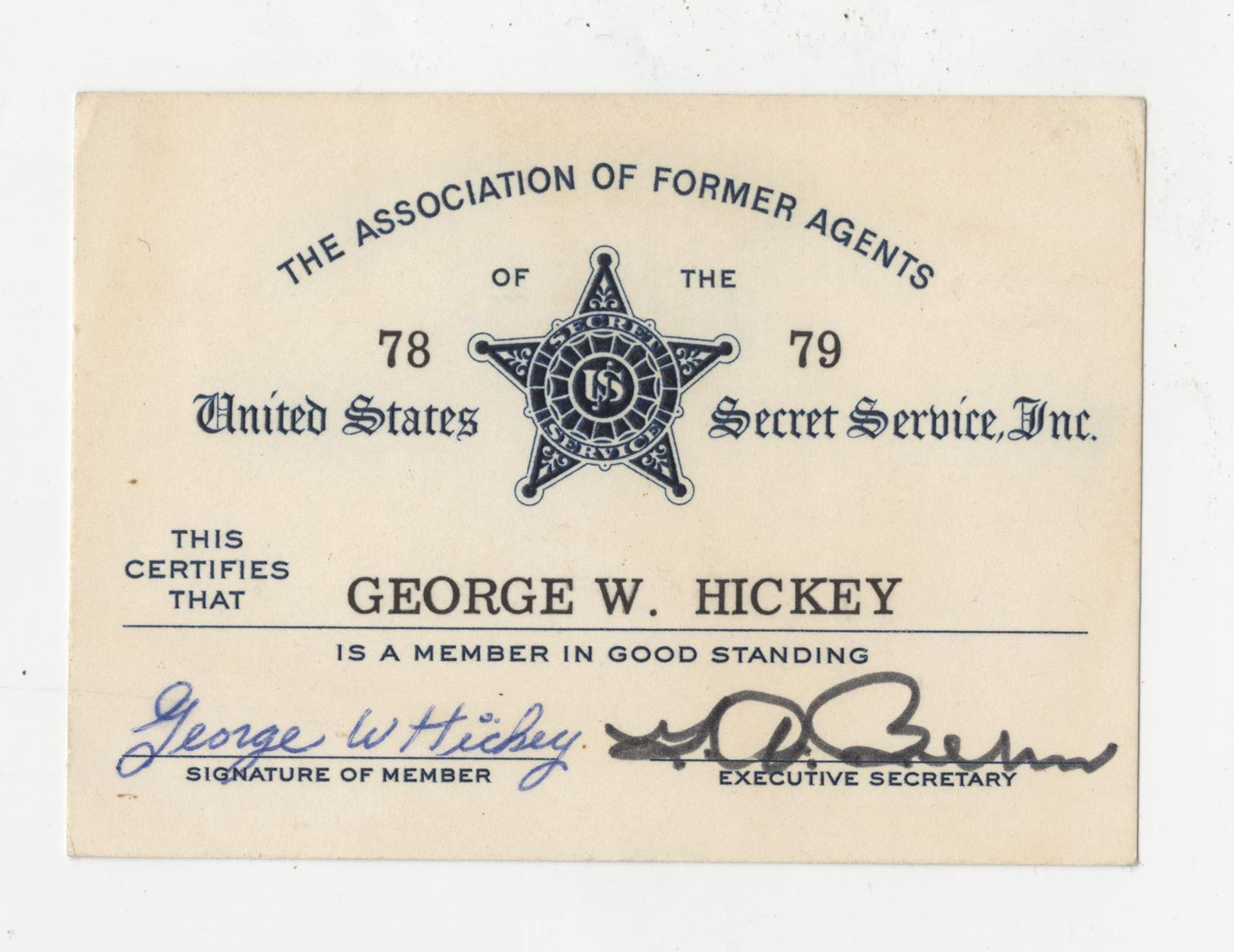 John F. Kennedy Secret Service Agent Card Signed by George Hickey
