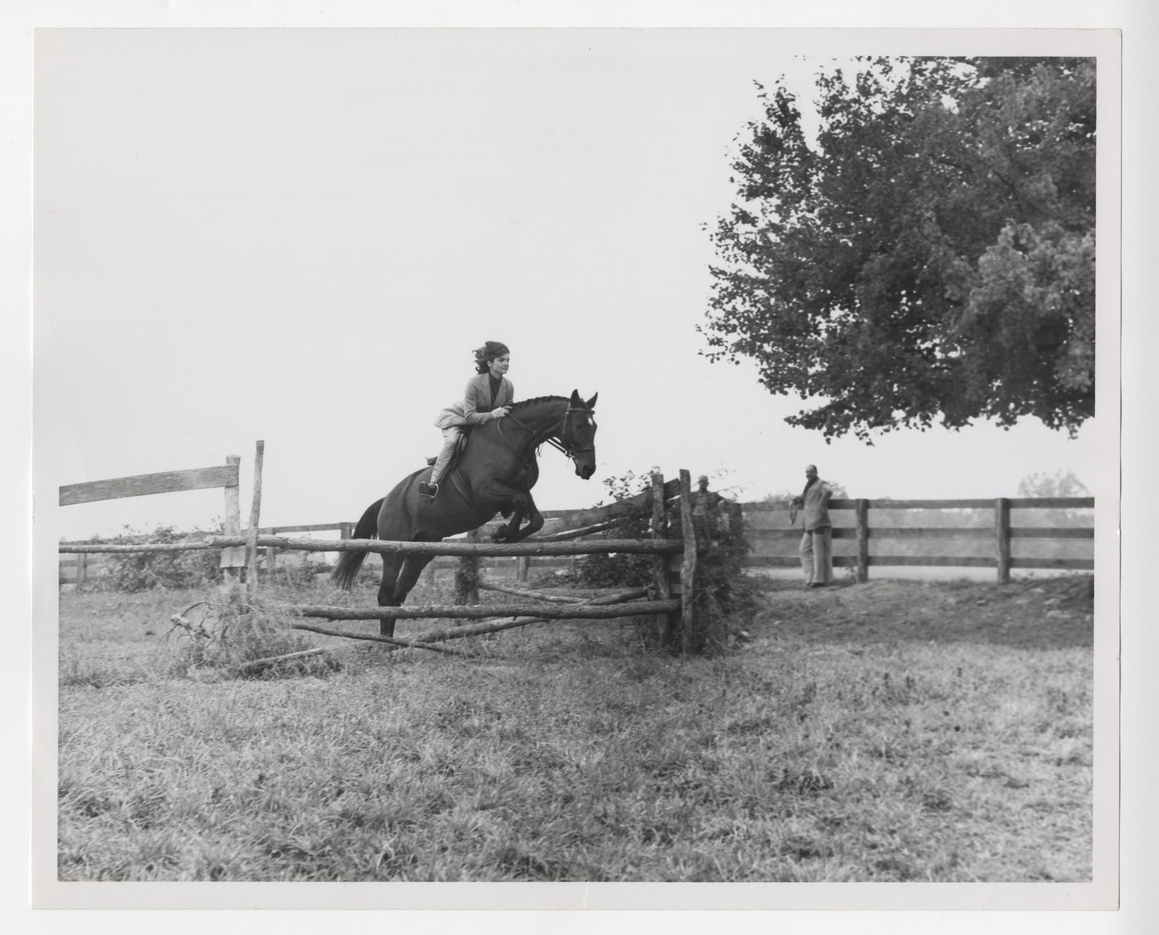 Jackie Kennedy Superb Vintage Photo of Practicing High Jumps With Her Horse