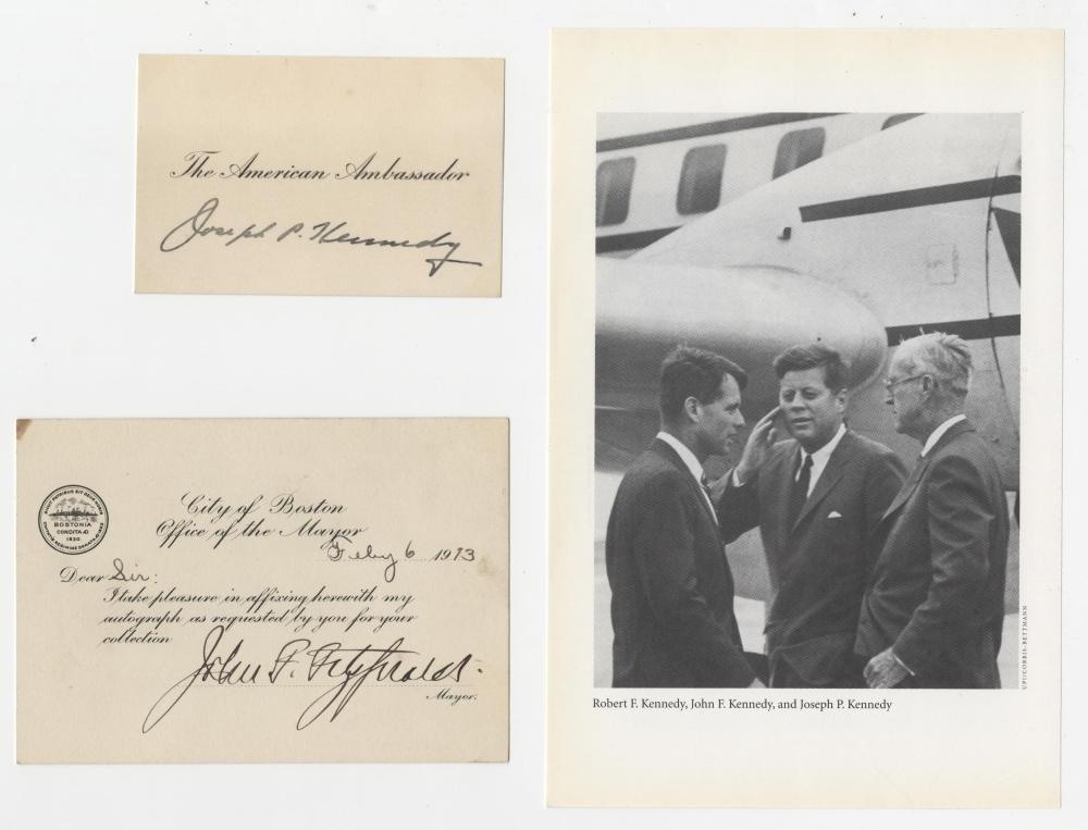 JFK's Father and Grandfather Superb Signed Cards