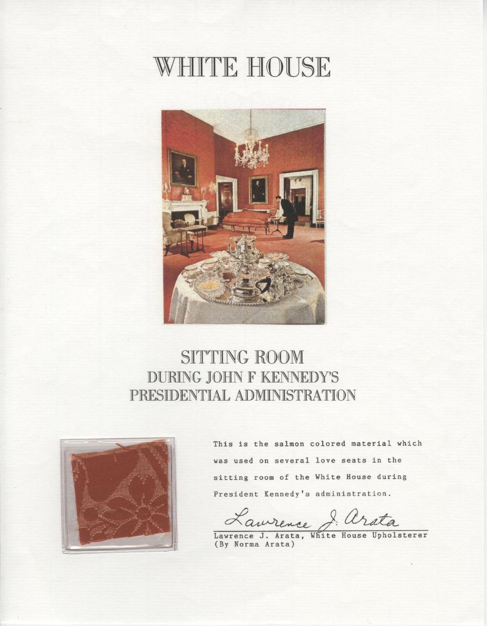 Kennedy Administration, White House Fabric from the Era of Camelot