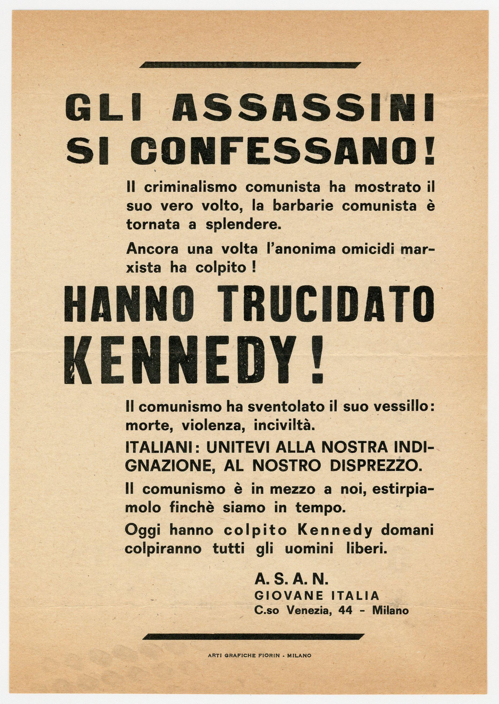 "Rare Italian John F. Kennedy Assassination Broadside: ""Hanno trucidato Kennedy!"""