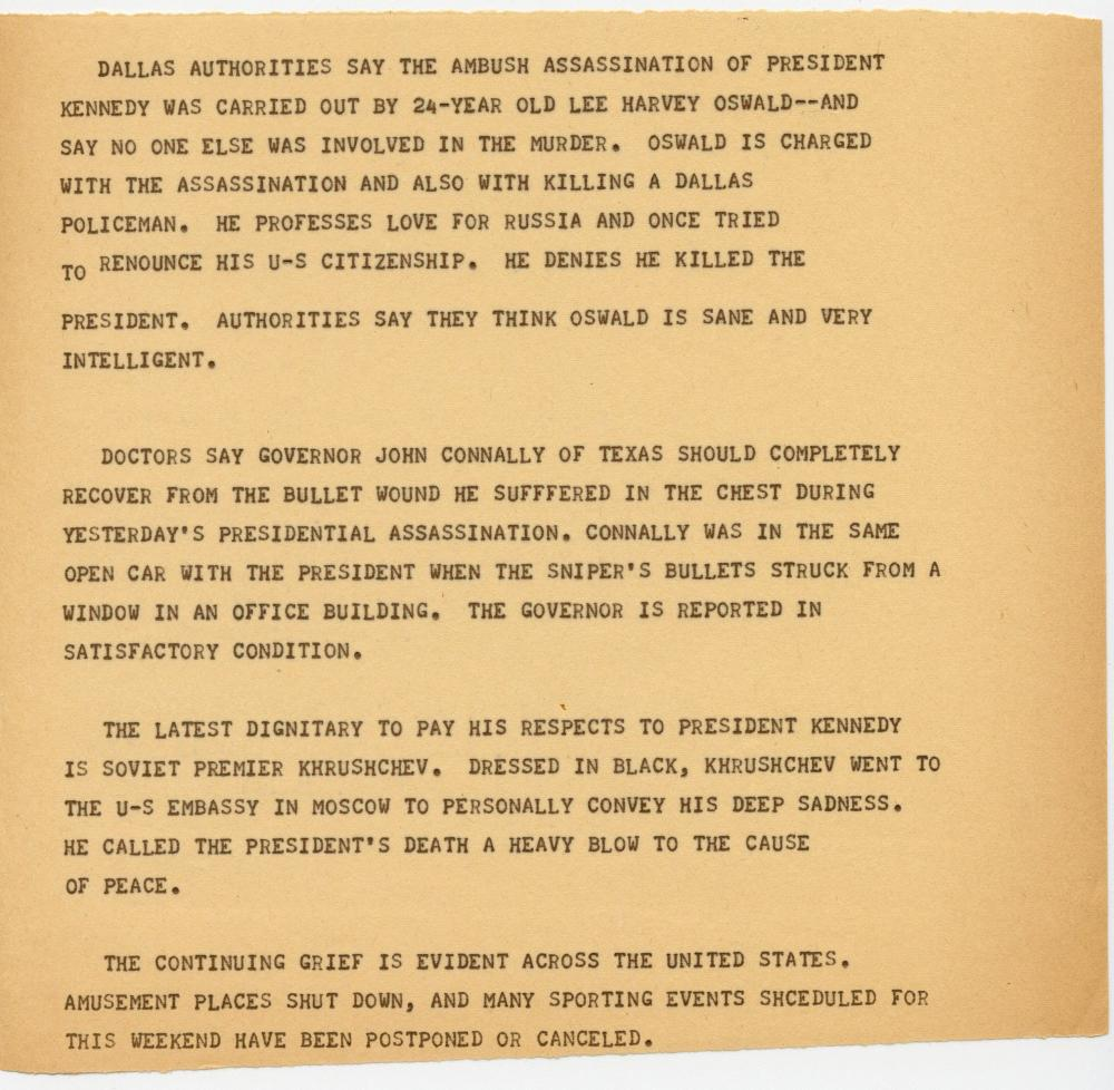 JFK Assassination Aftermath, Over 48' of Historic Teletype, November 22-25, 1963