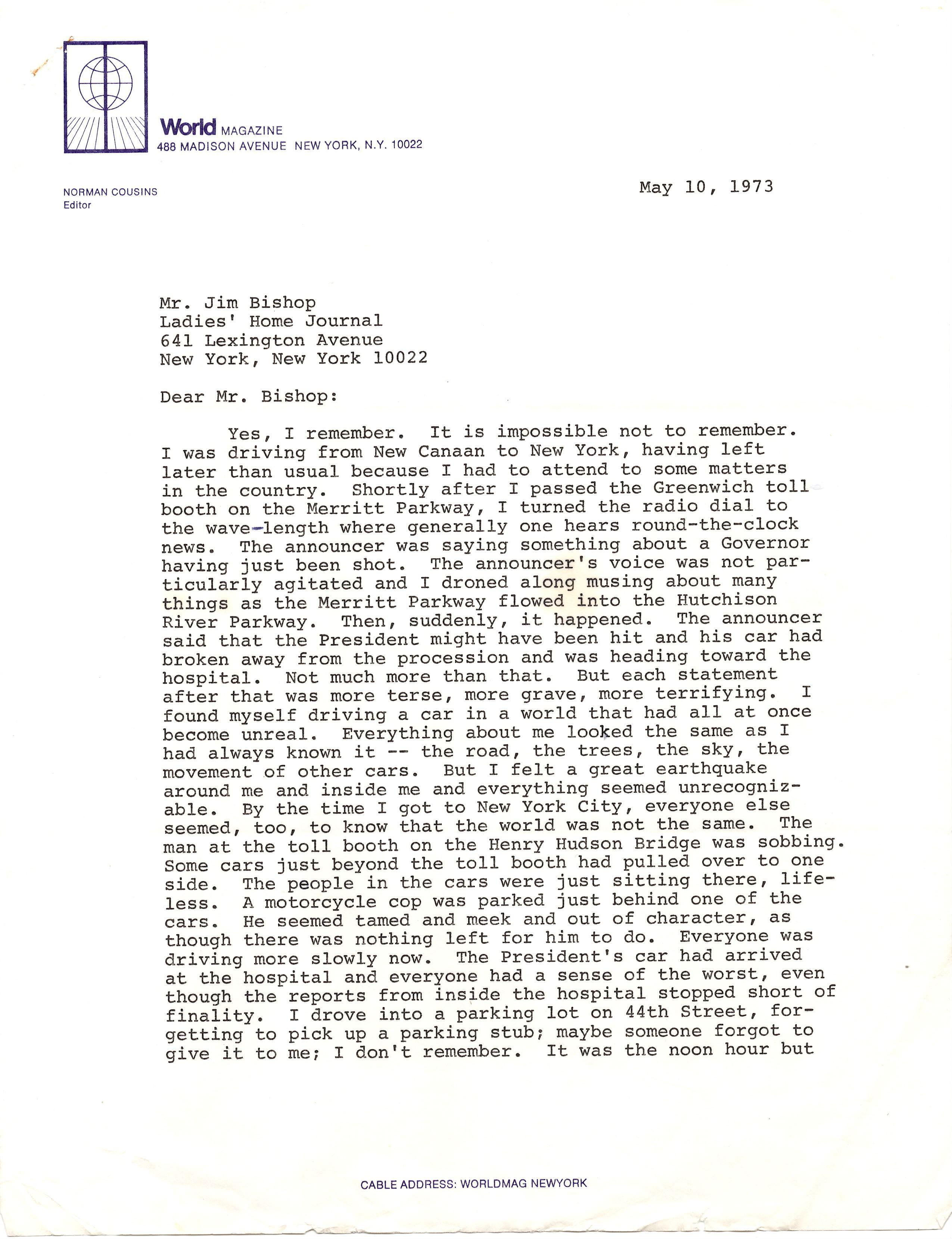 Norman Cousins on JFK's Assassination