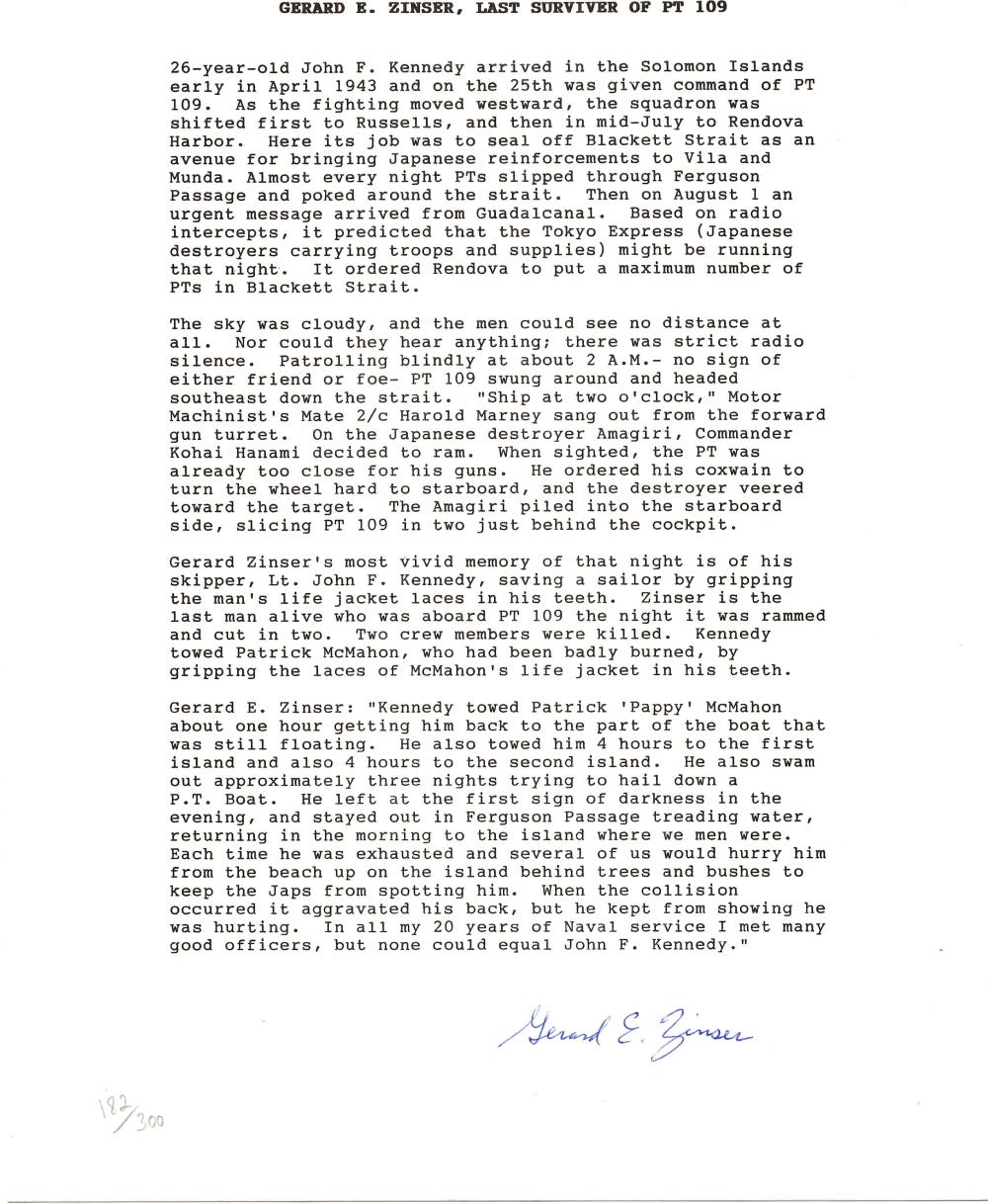 Two Letters Regarding JFK and His Service on PT 109