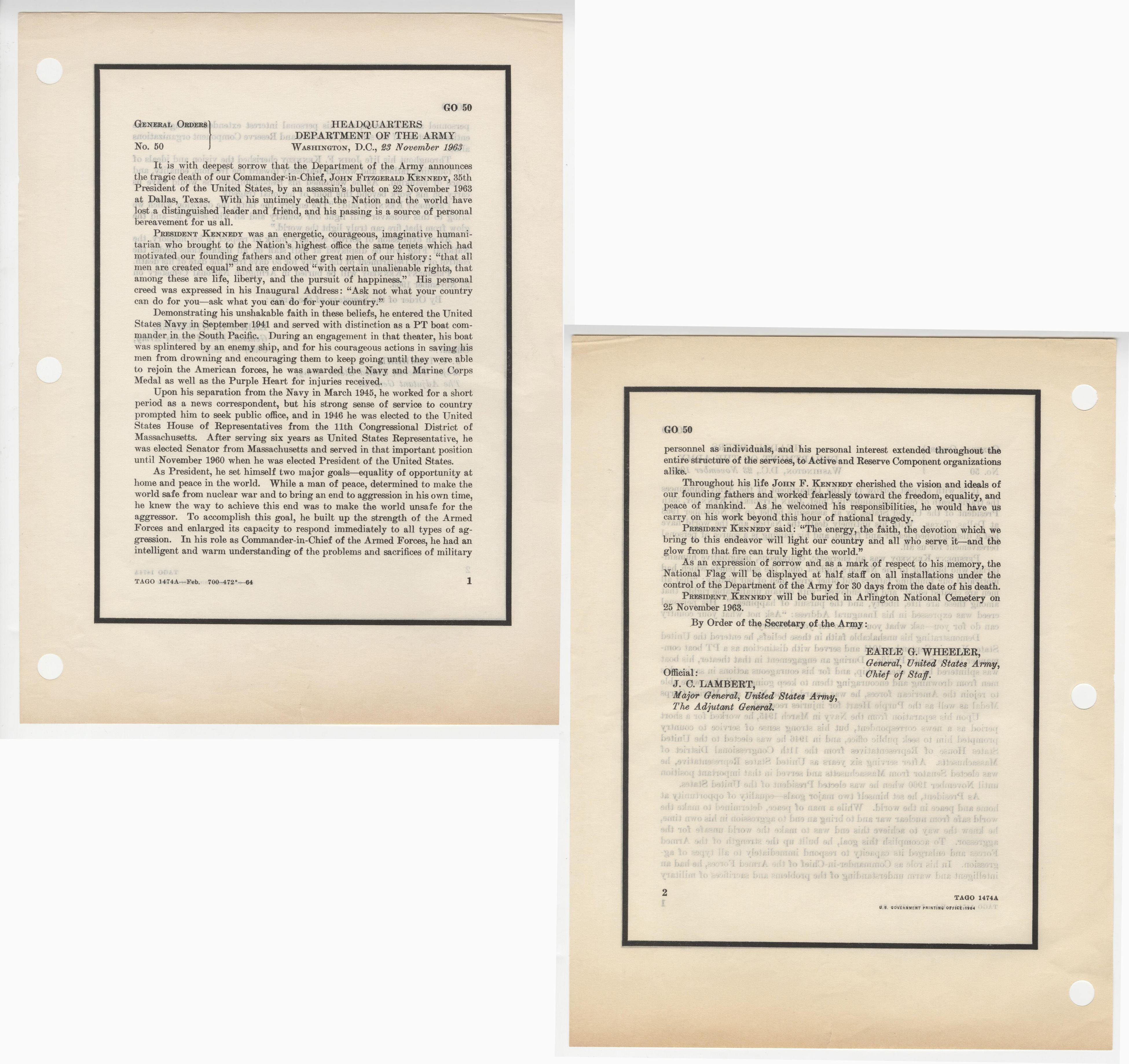 John F. Kennedy Assassination Broadside Notice Printed by the Army