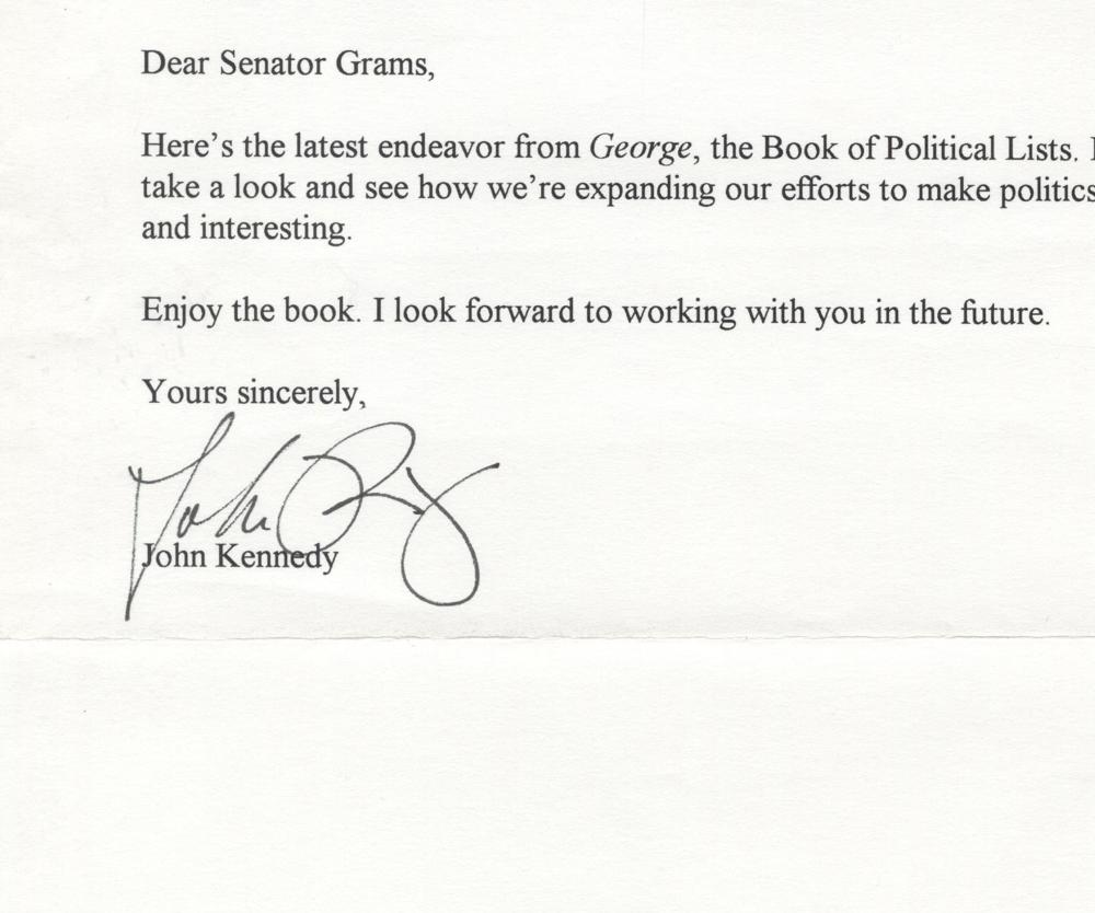 "John F. Kennedy Jr, Letter on ""George"" and Politics"