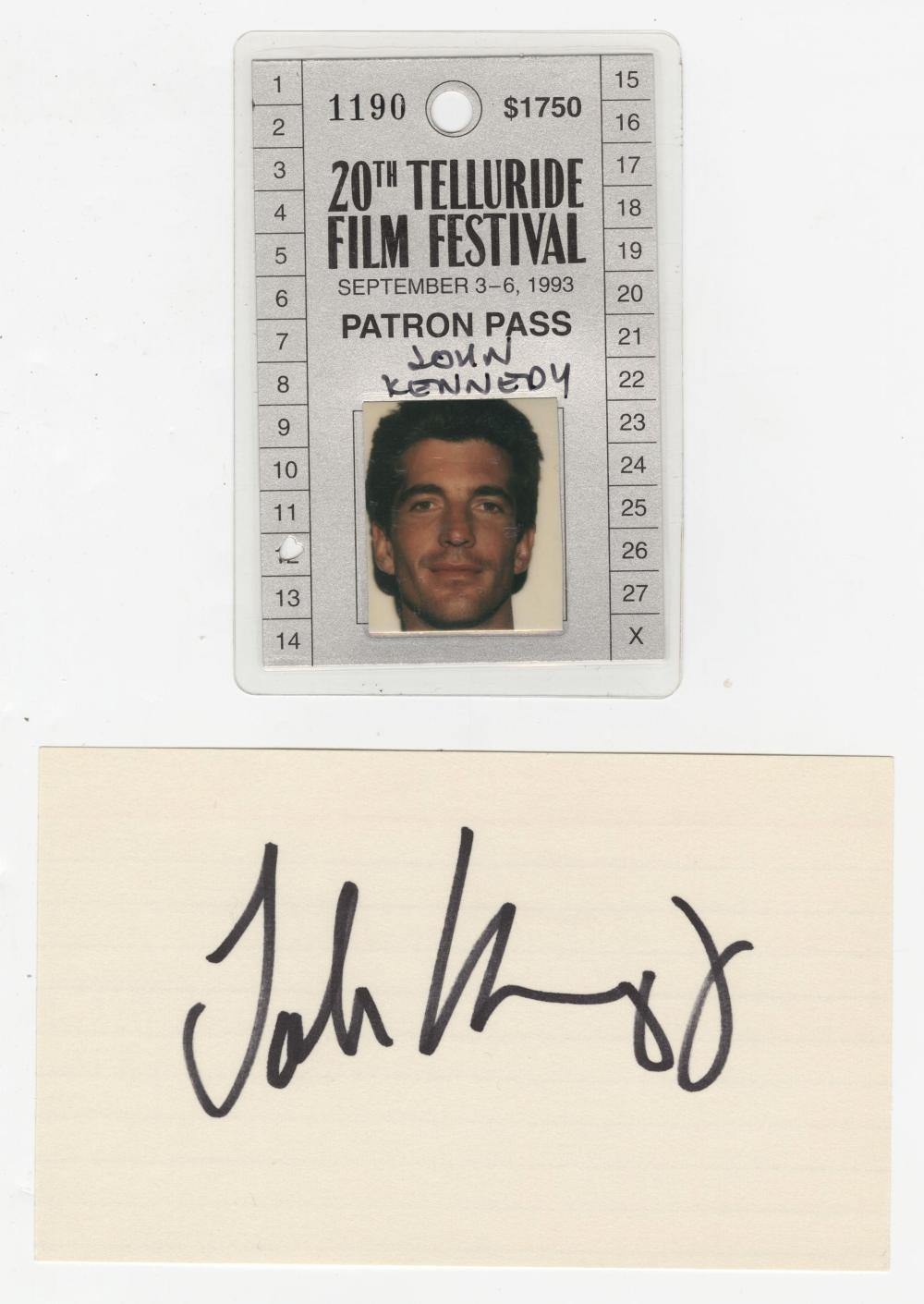 John F. Kennedy, Jr Signature and Telluride Festival Pass