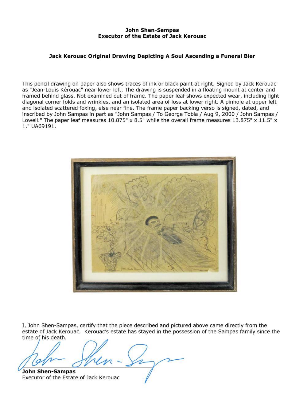Jack Kerouac Original Drawing Depicting A Soul Ascending a Funeral Bier