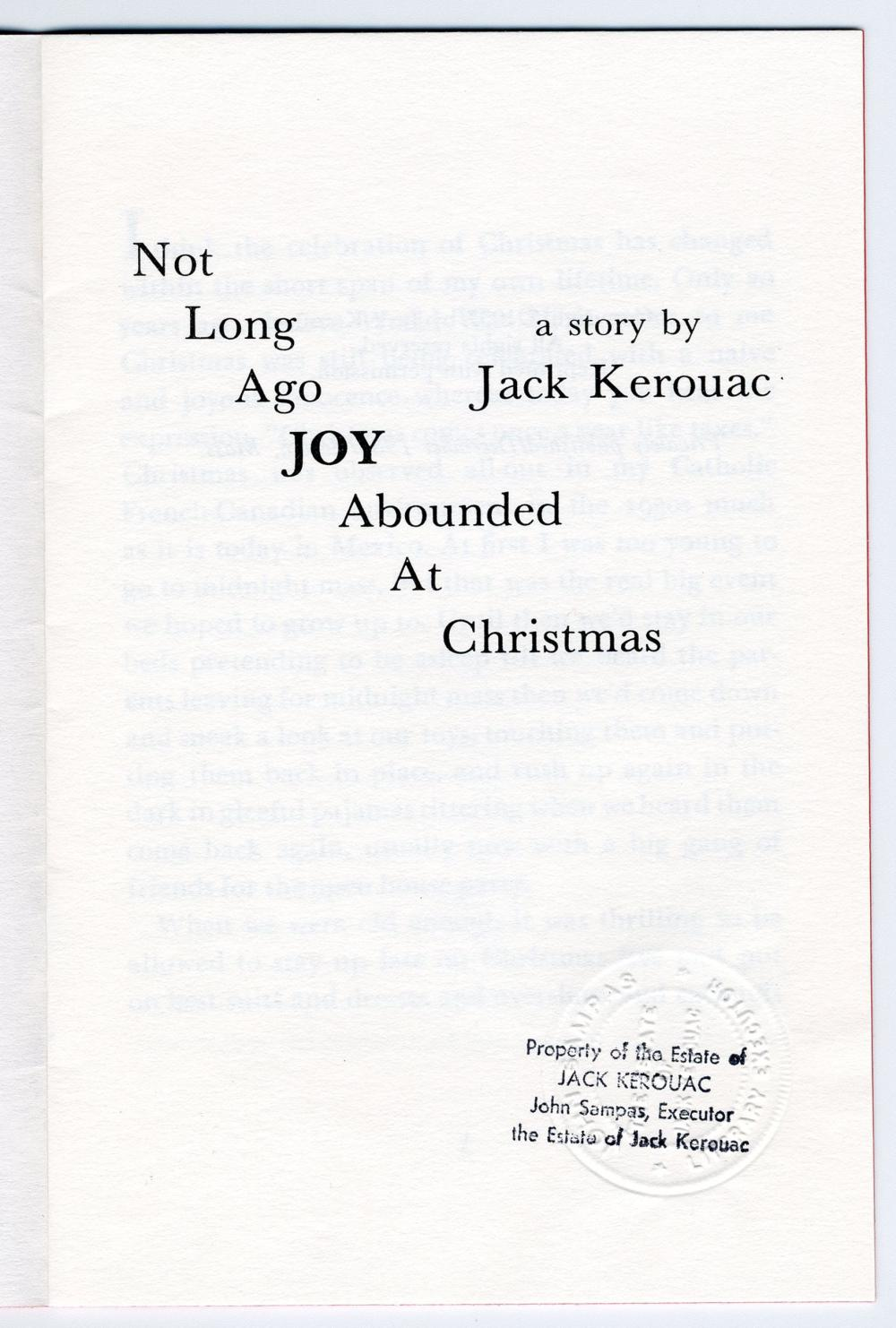 "Kerouac Private Printing: ""Not Long Ago Joy Abounded At Christmas"" Written by Jack Kerouac in 1957"