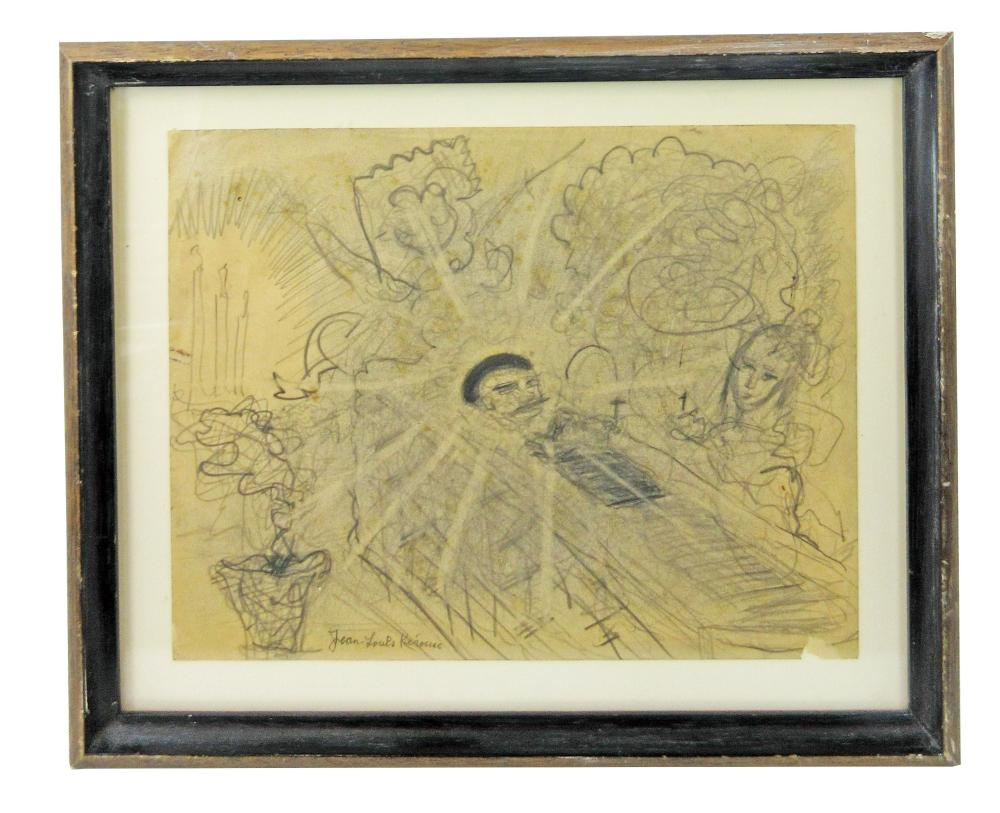 Jack Kerouac Original Drawing Depicting A Soul Ascending a Funeral Bier