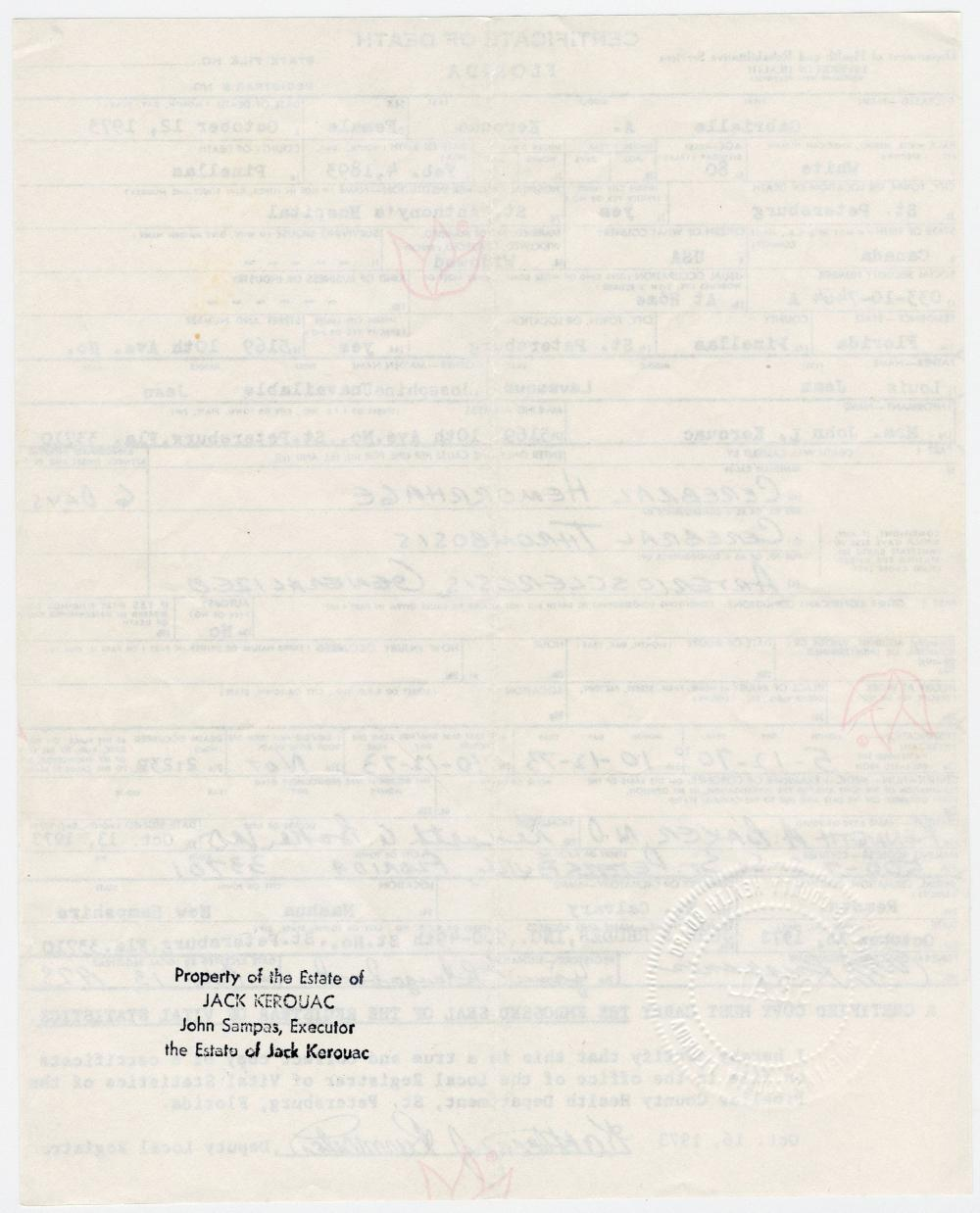 Jack Kerouac's Mother's Embossed Death Certificate, From the Author's Estate