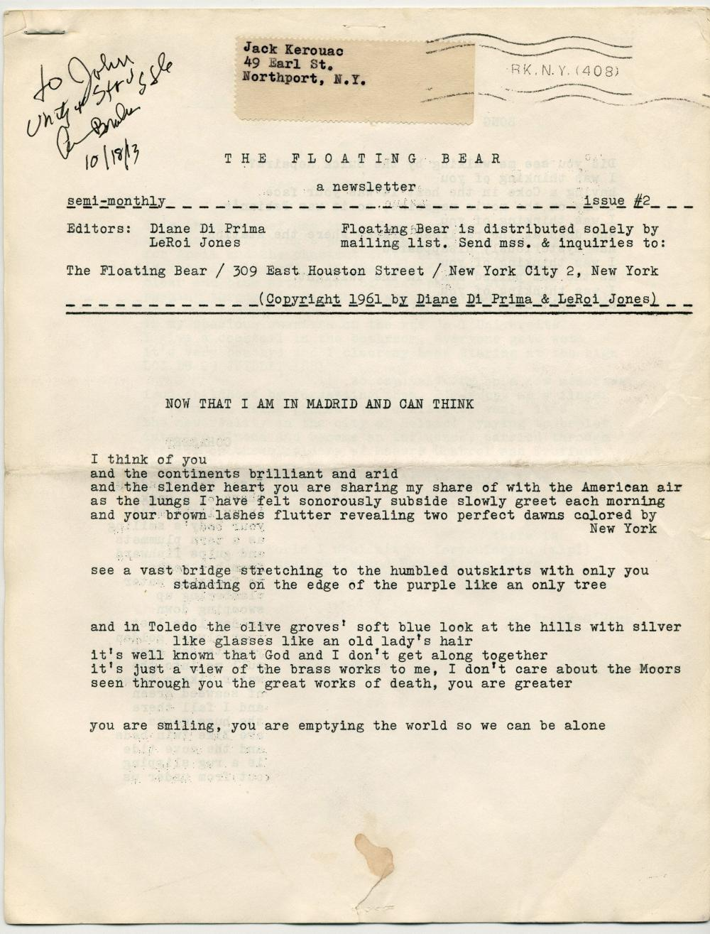 """Jack Kerouac's Copy of Rare Poetry Monthly """"The Floating Bear,"""" Signed by Magazine Co-Editor/Poet Amiri Baraka; Estate-Owned"""