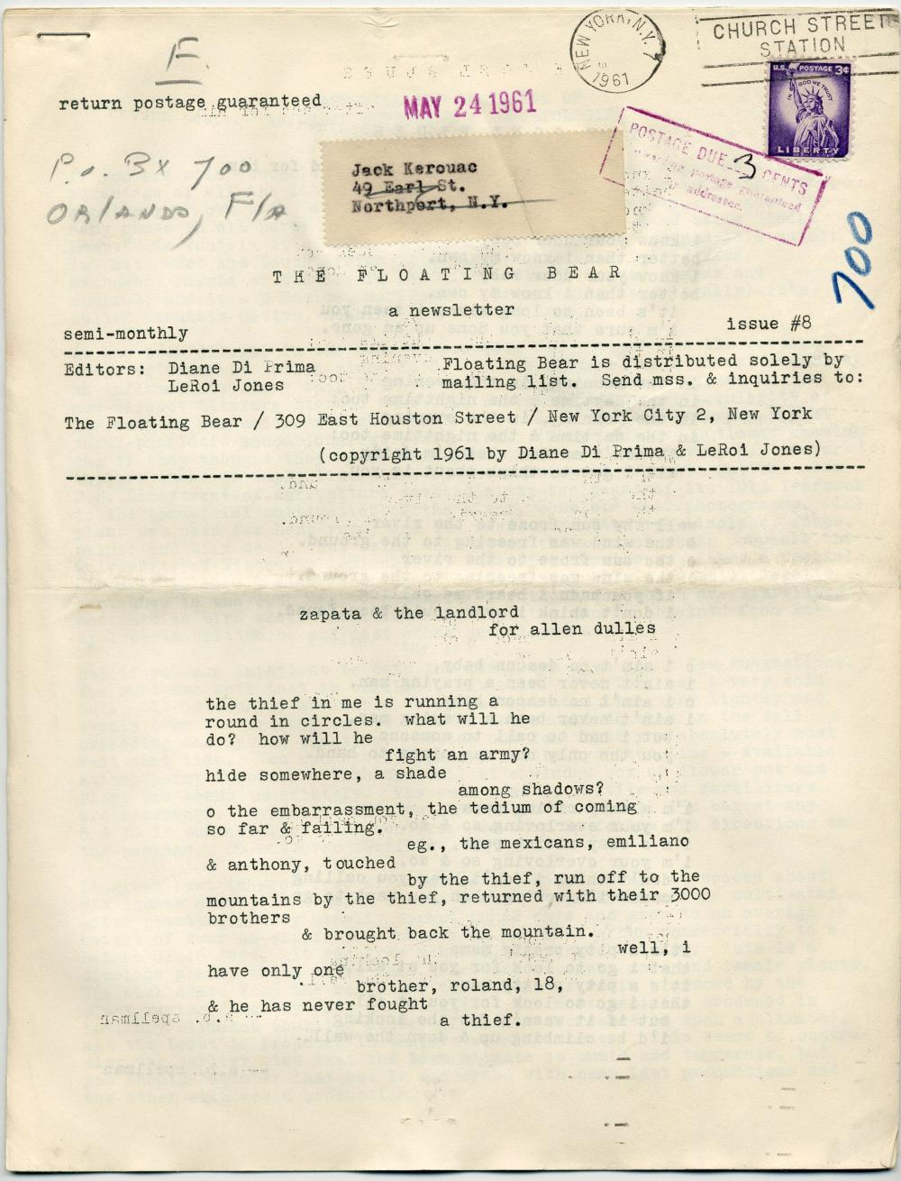 "Jack Kerouac's Personally Owned 3 Issues of Rare Poetry Monthly ""The Floating Bear,"" Estate-Certified"
