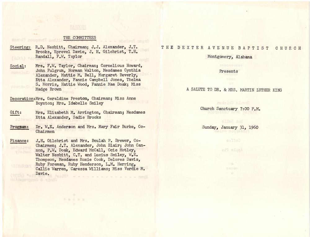 A Salute to Dr. & Mrs. Martin Luther King Program, 1960