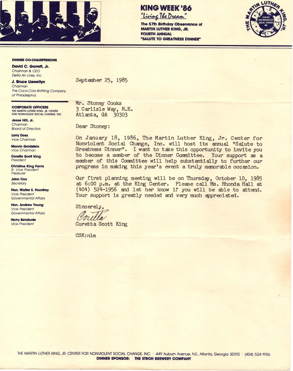 Three Typed Letters Signed by Mrs. ML King to Stoney Cooks