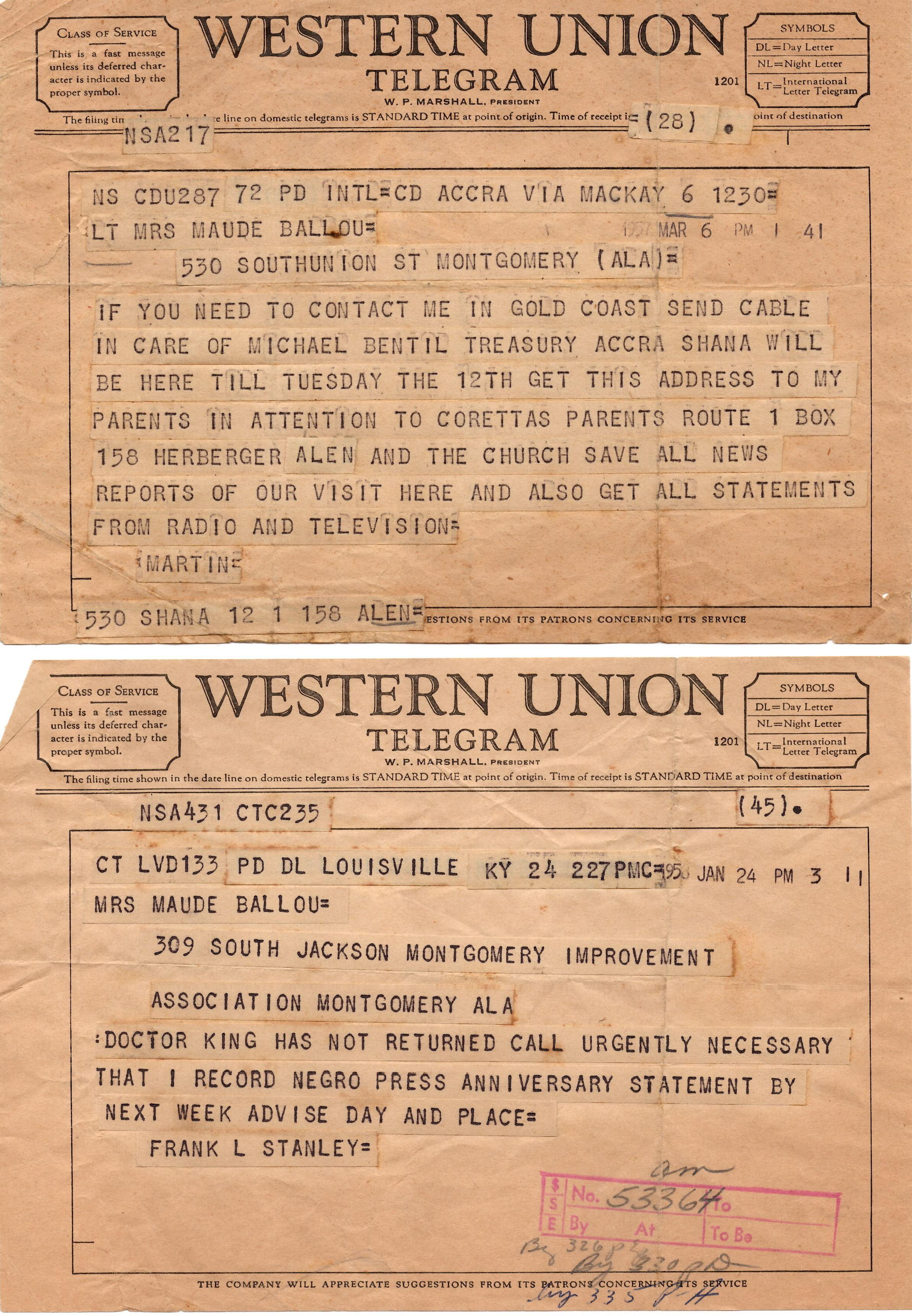 Martin Luther King Archive of Letters and Documents Related to Maude Ballou