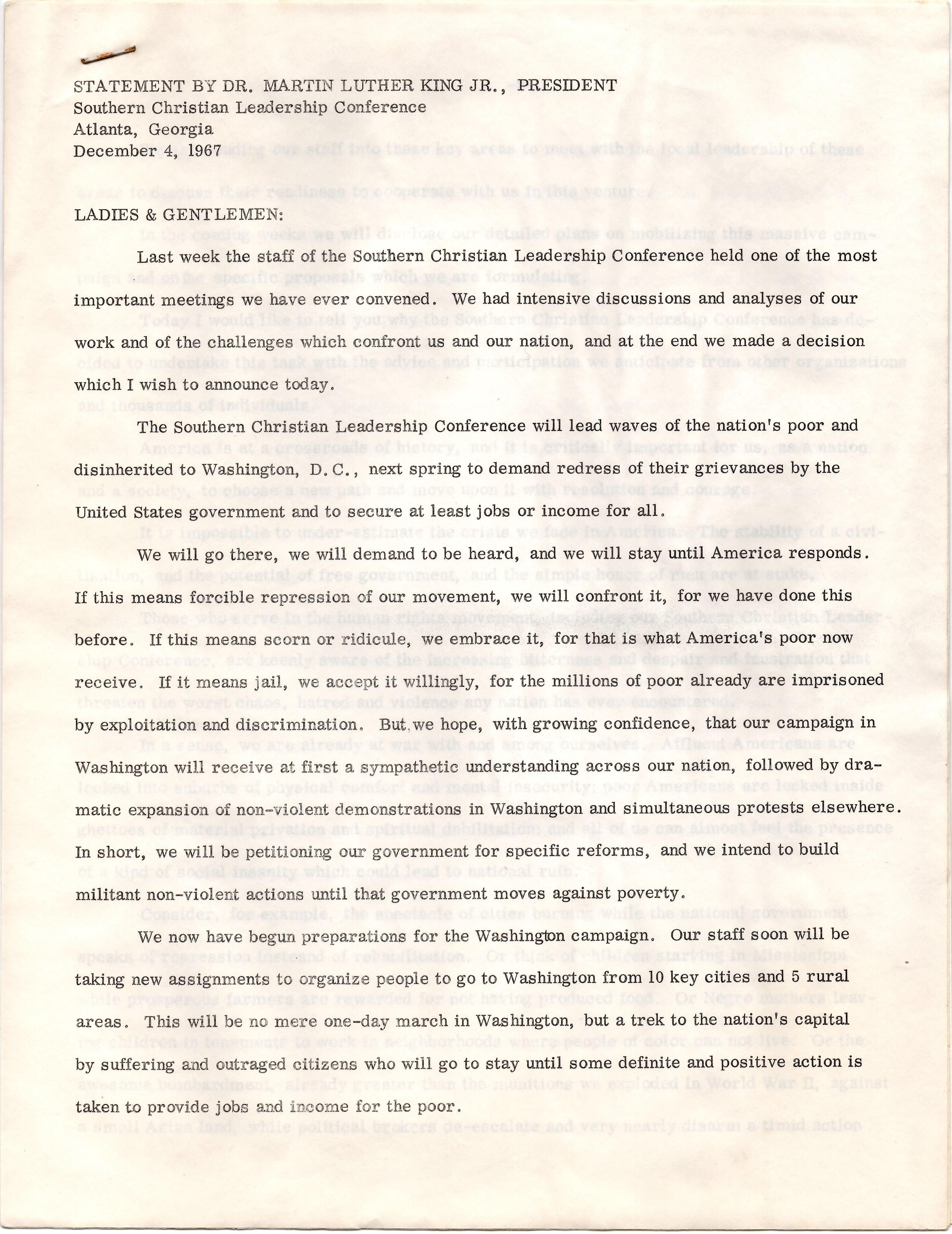 Statement by Dr. ML King, Announcing the 1968 March on Washington