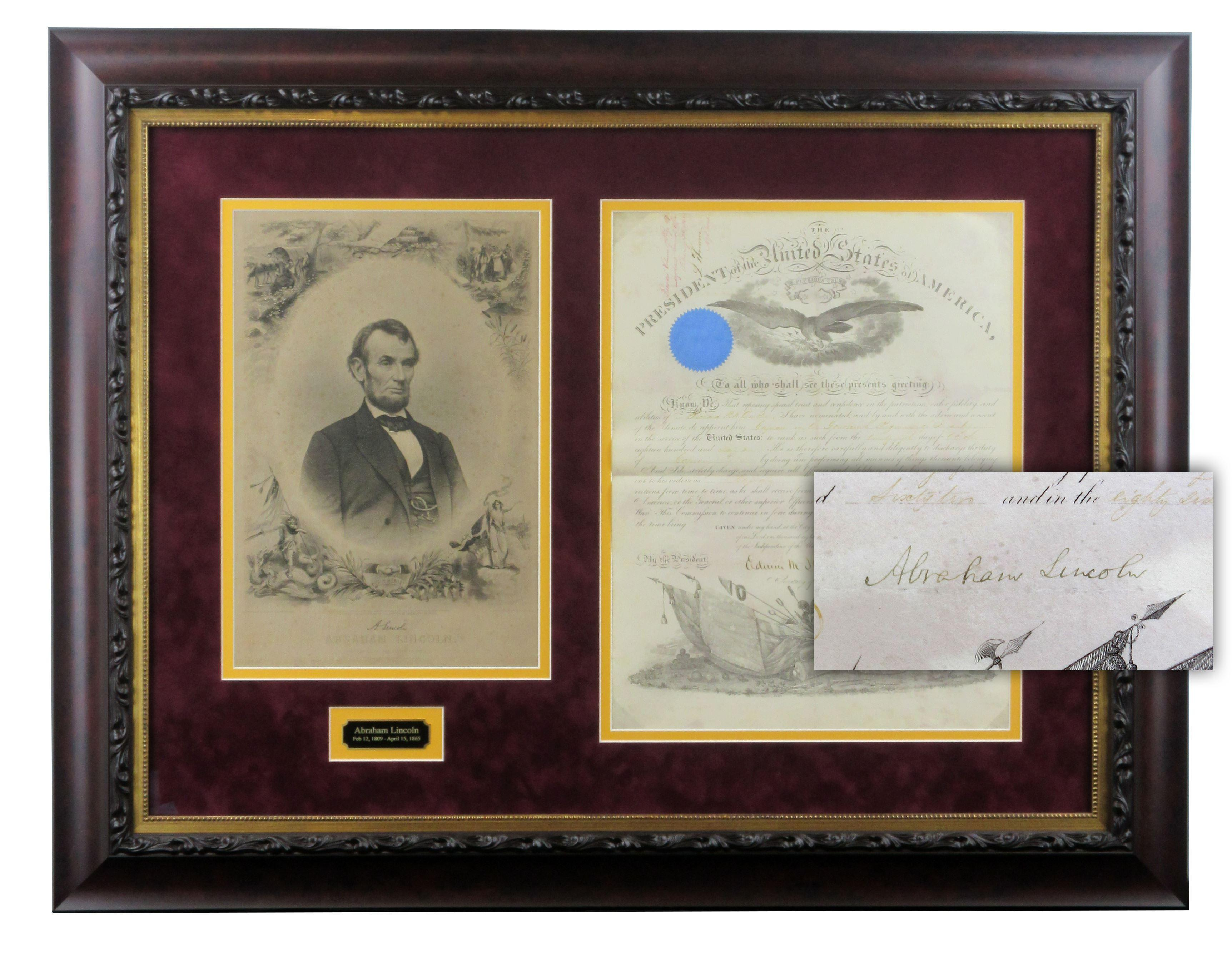 Abraham Lincoln Signed Civil War-Dated Appointment Displayed with Rare Engraving