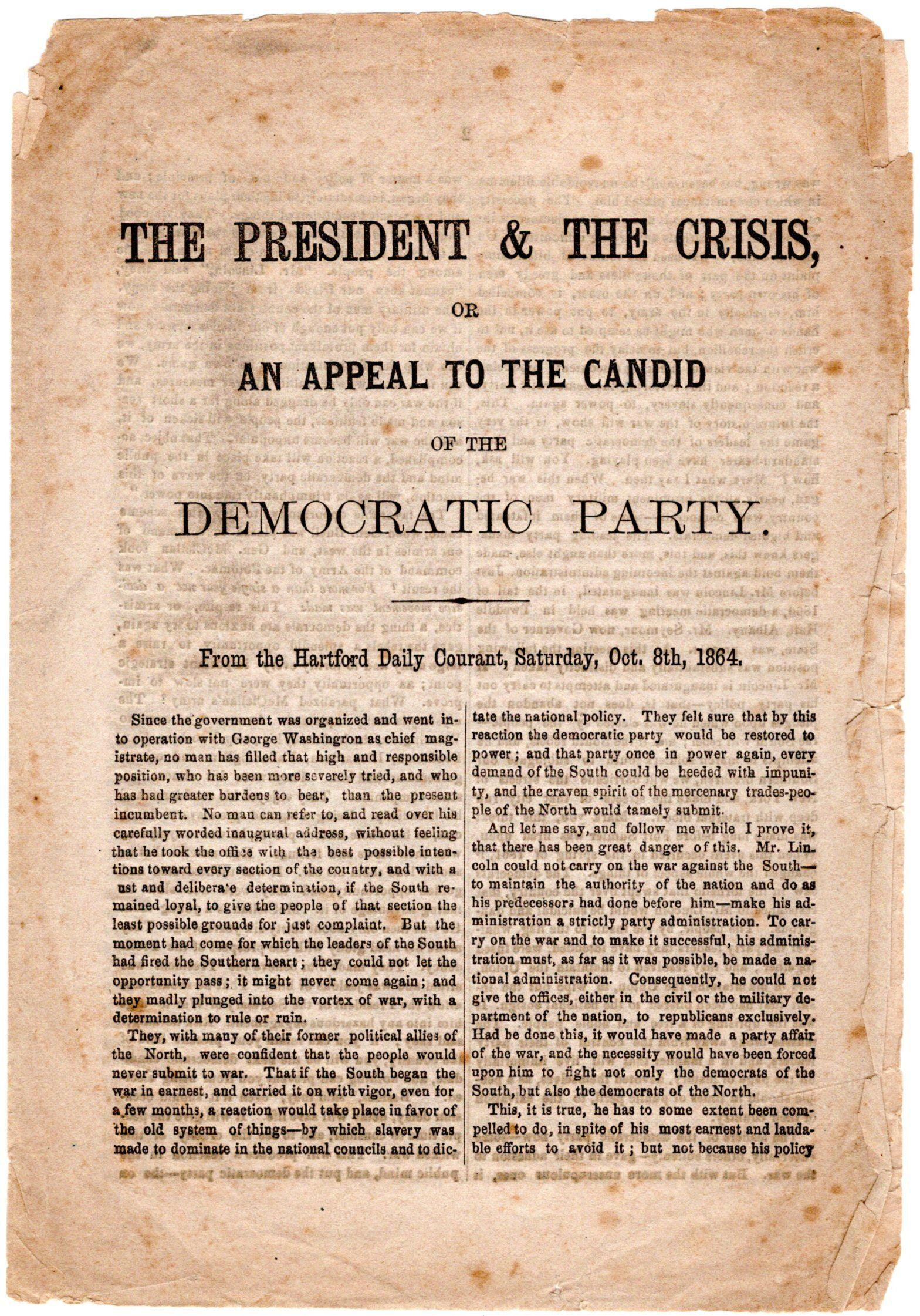 Campaign Document Contrasts Lincoln's Prudence with McClellan's Scheming to Prolong War
