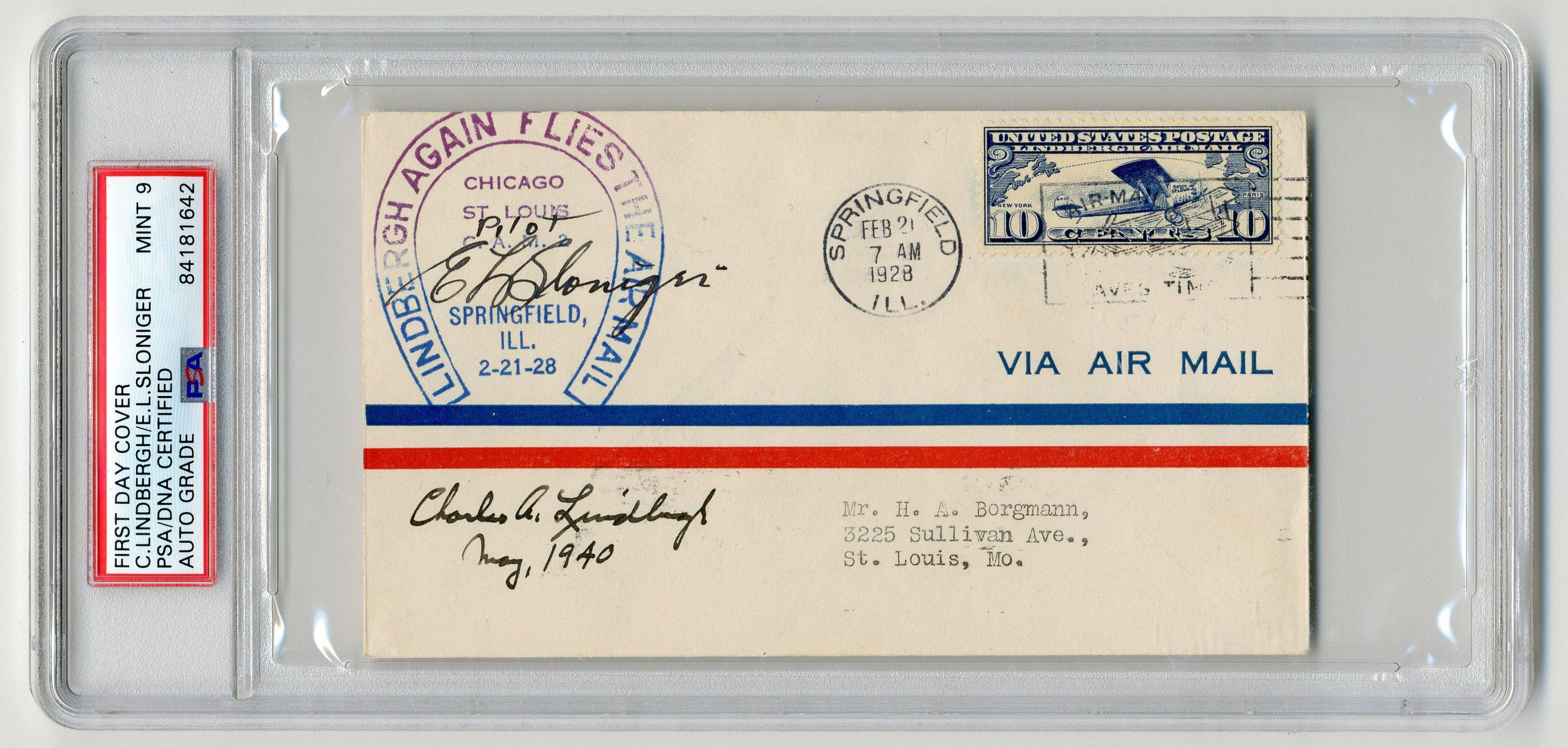 "Charles A. Lindbergh & E.L. Sloniger Signed ""Lindbergh Again Flies the Air Mail"" Flown Cover, PSA/DNA Slabbed & Graded Mint 9!"