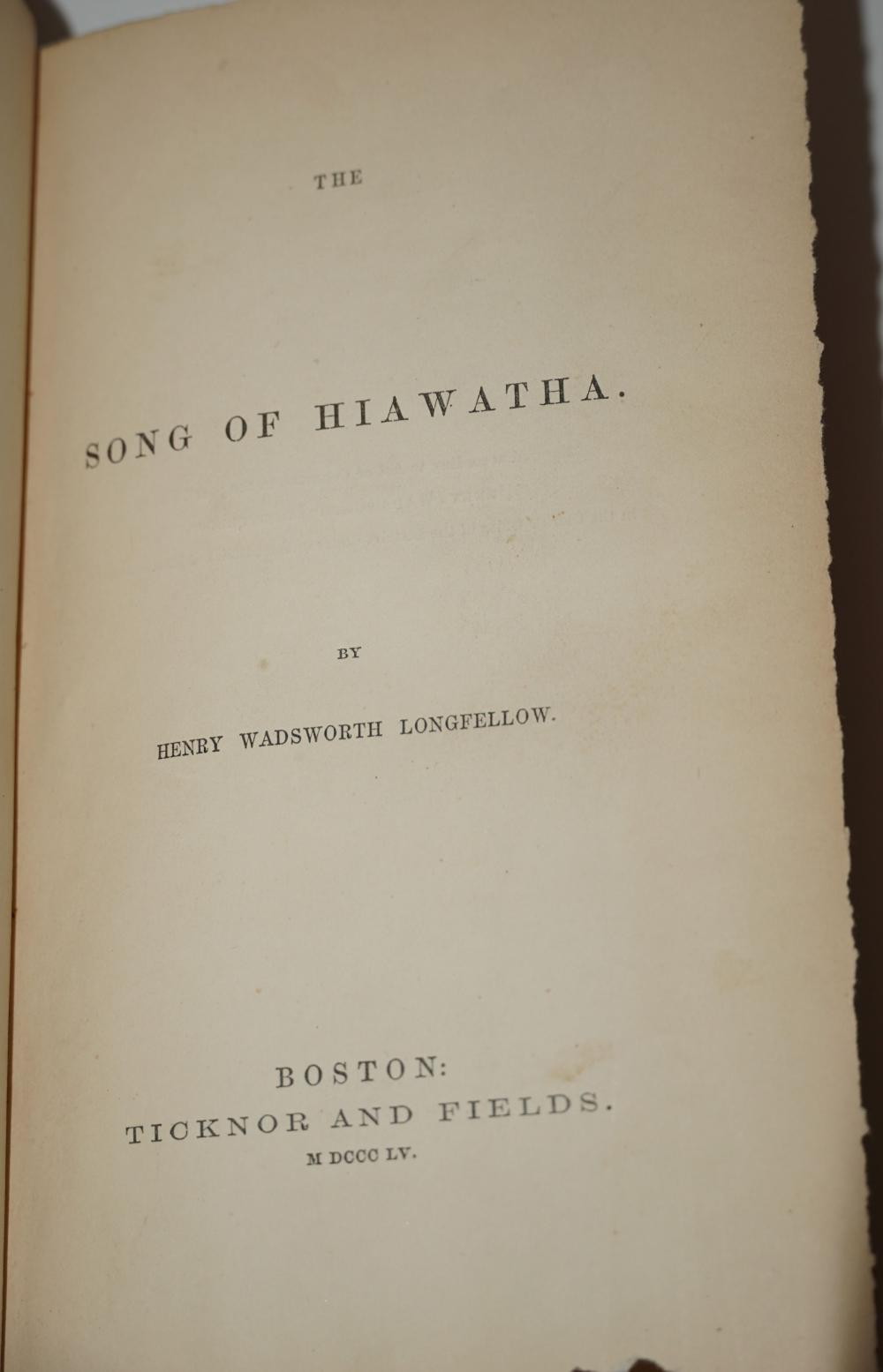 """H.W. Longfellow Superb ALS Regarding Bowdoin College and Shells, Tipped into His Book, """"The Song of Hiawatha"""""""