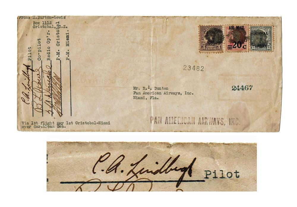 Charles Lindbergh Signed Envelope First Flight Over the Caribbean Sea