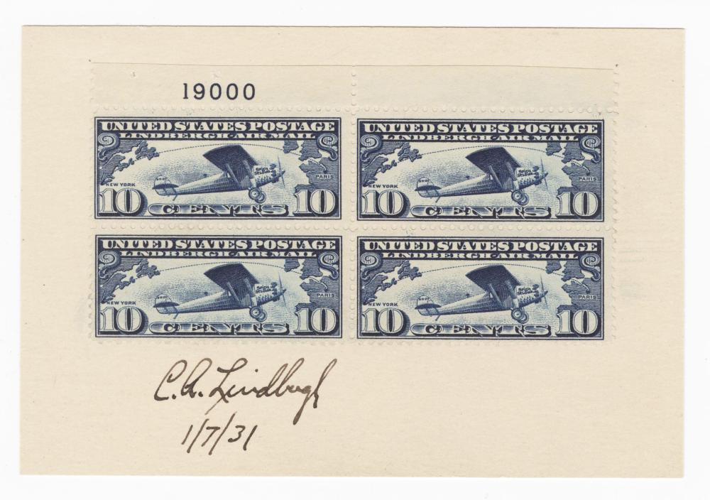Charles Lindbergh Signed Stamp Block of the Blue 10 Cent Airmail Stamp