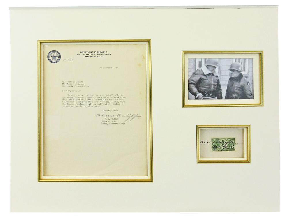 """Gen. McAuliffe Tells the Germans """"Nuts!"""": Earliest Known Statement About its Origins, Along with Bonus Signed Belgian Postage Stamp, Handsomely Displayed!"""