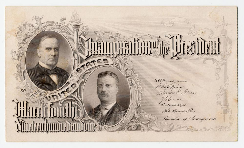 William McKinley Second Inauguration Entrance Ticket Featuring New VP Theodore Roosevelt