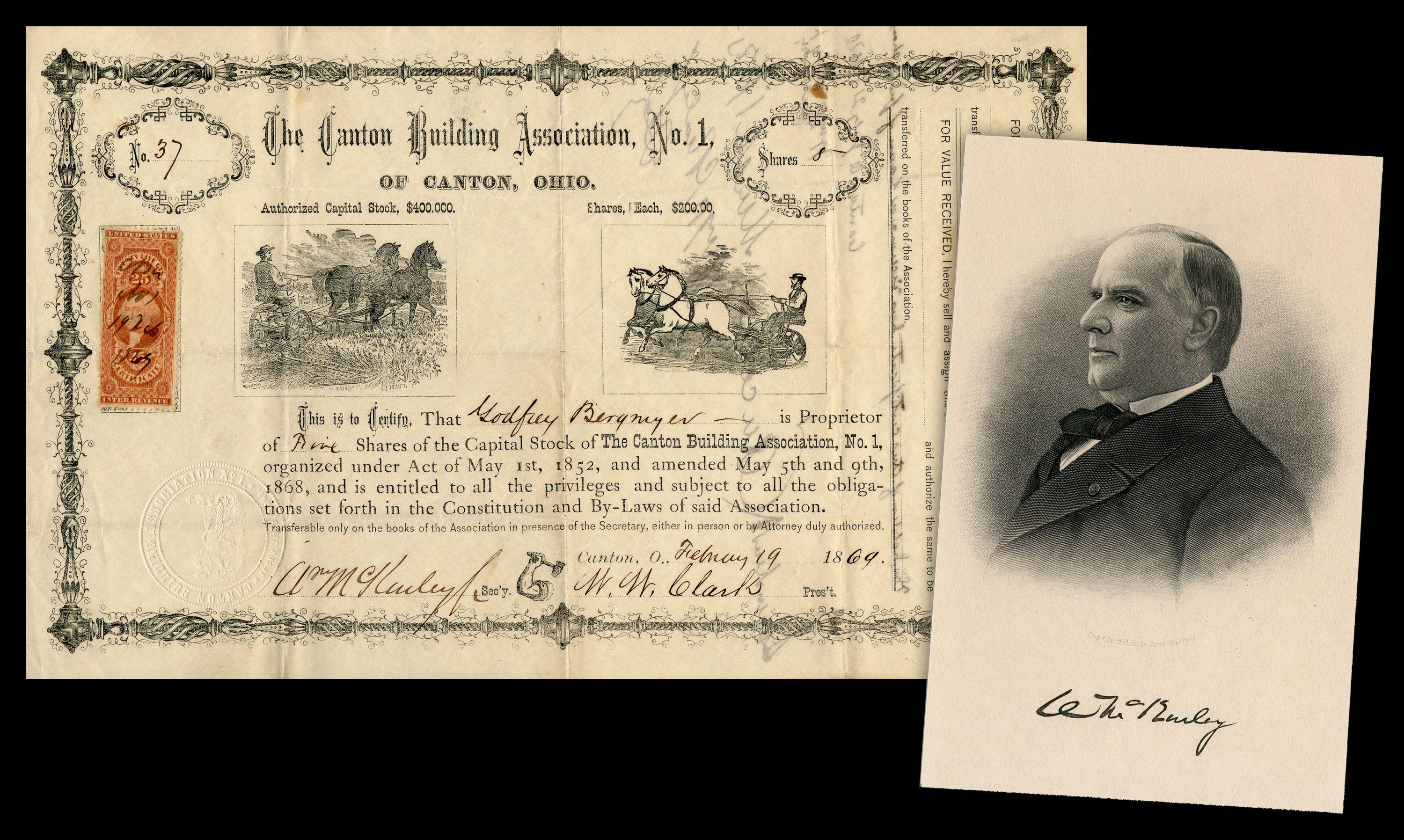 William McKinley 2x Signed Canton Building Association Certificate