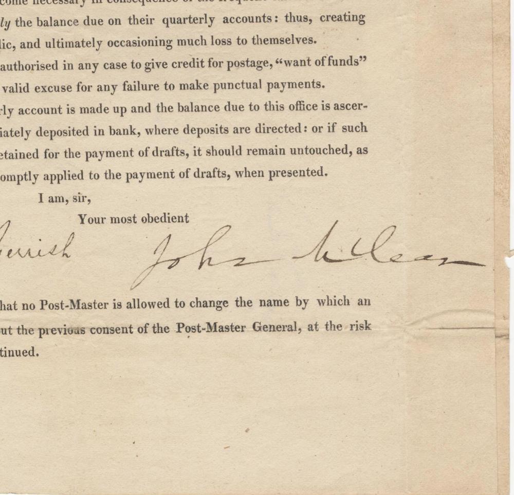 John McLean Postmaster General Signed Broadside & Free Frank