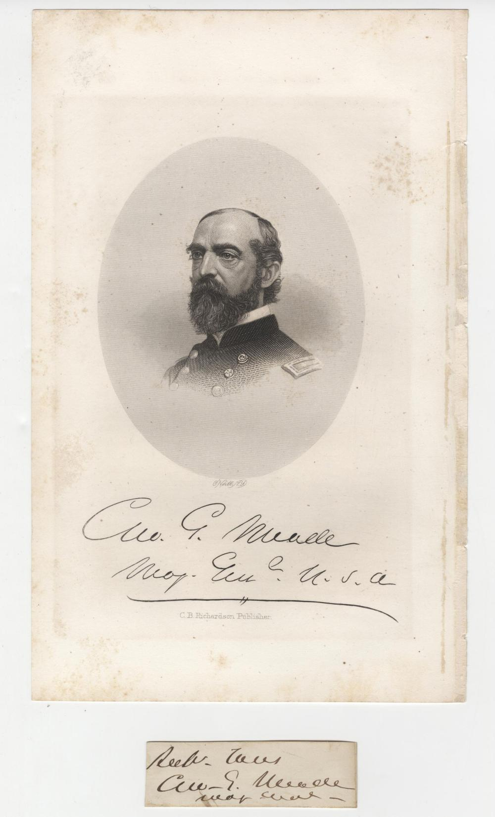 George Meade Signature With Rank
