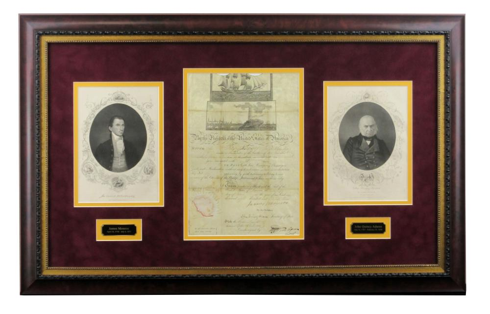 James Monroe & John Quincy Adams Signed Scalloped Ship's Passport in Museum-Quality Frame