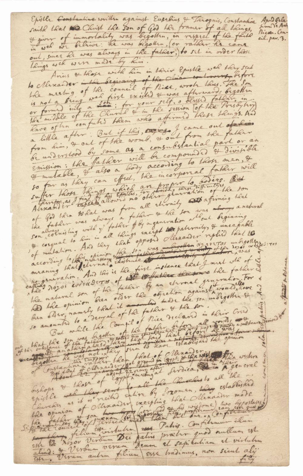 Sir Isaac Newton Superb Important Autograph Manuscript: Heresy, Expounding Religious Views that Colored His Scientific Works Including Principia!