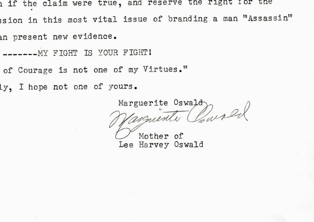 "Lee Harvey Oswald's Mother's TLS ""Evidence"""