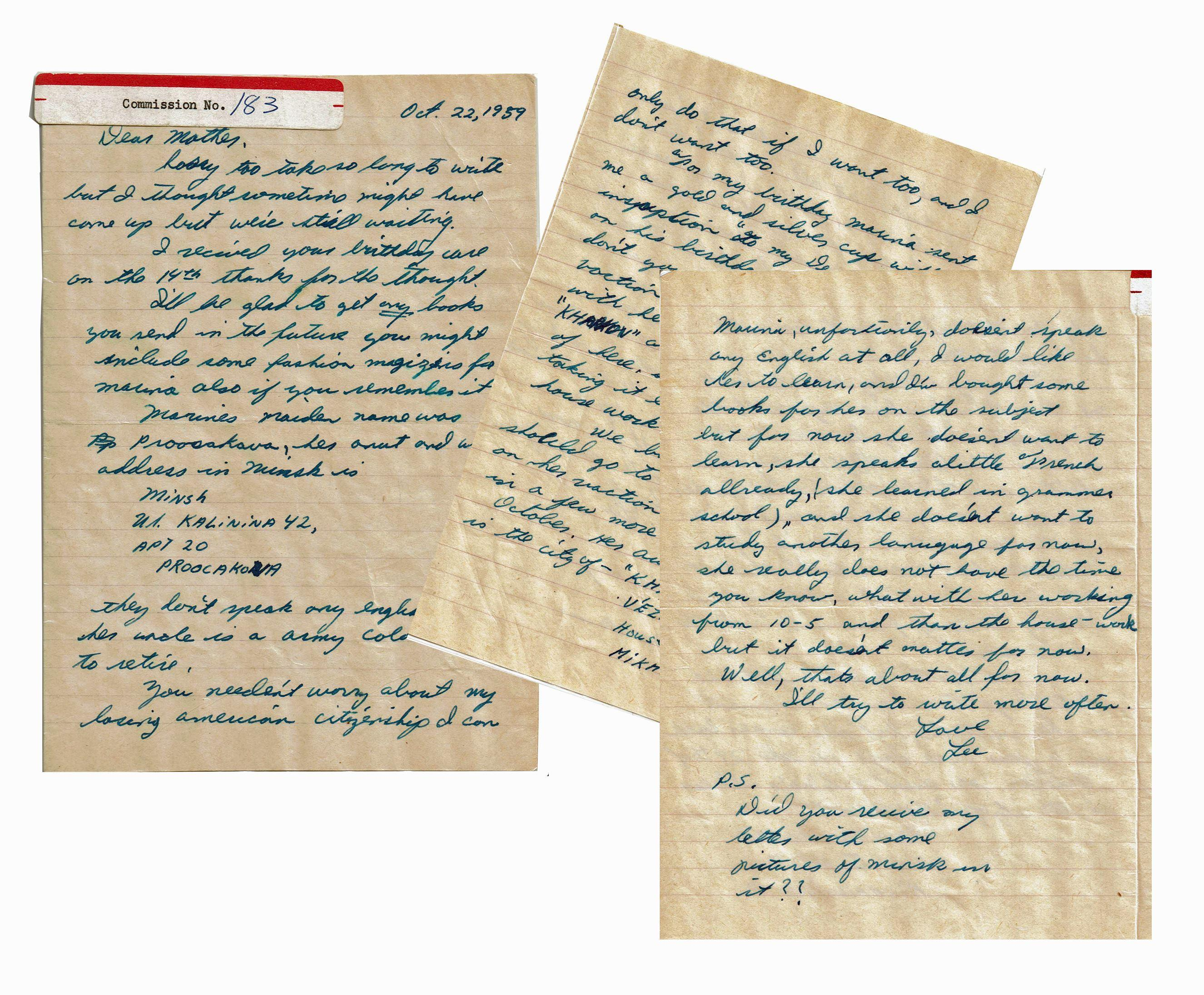 Lee Harvey Oswald ALS to His Mother from Russia, Warren Commission Evidence