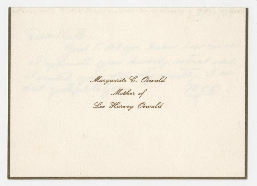 Marguerite Oswald Driver's License and ALS