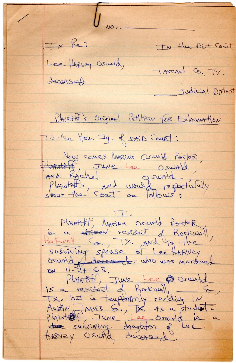 Lee Harvey OswaldAn Archive of 176 Pages, Lawyer's Notes and Letters Related to the Exhumation of Oswald's Body in 1981