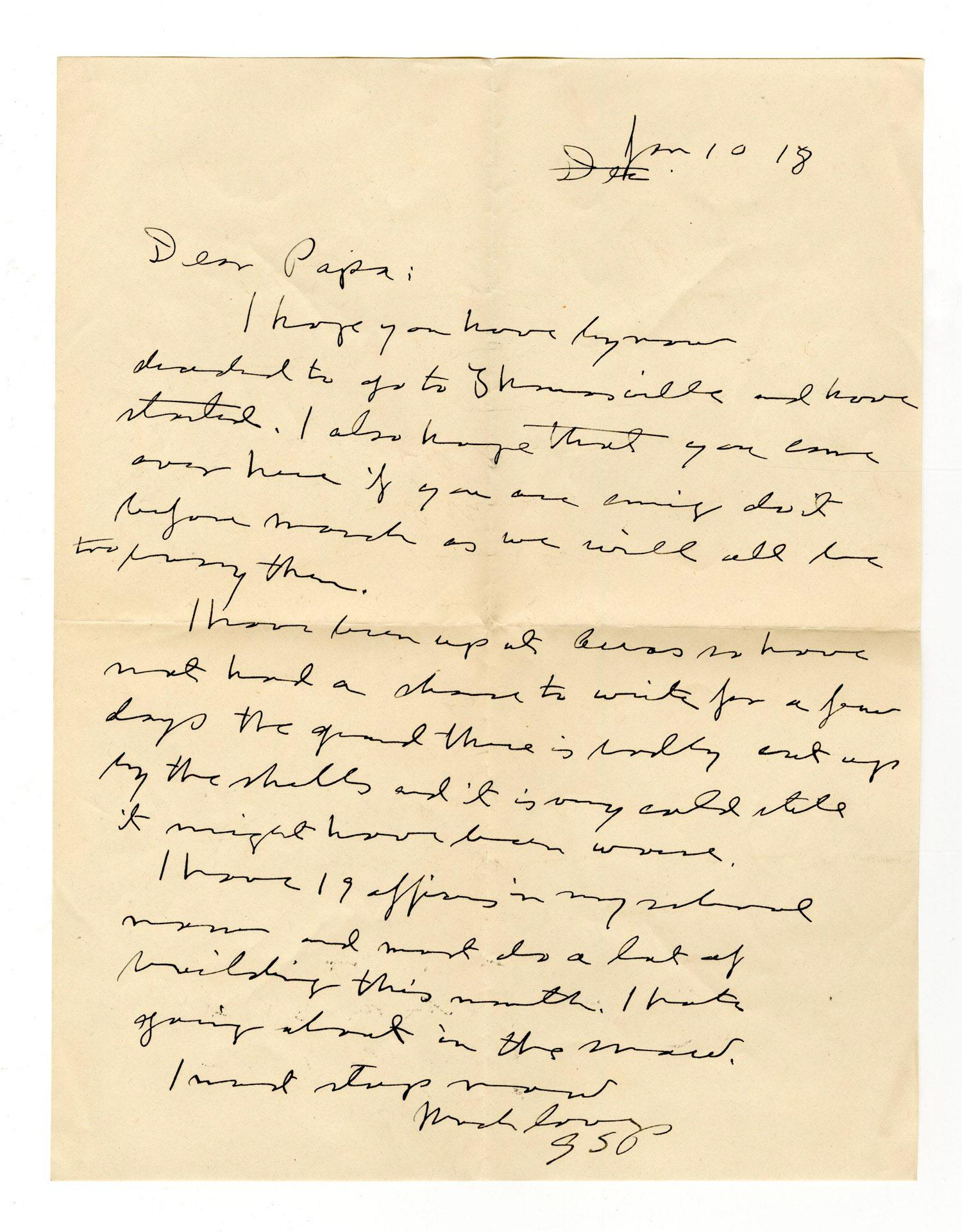 Captain George S. Patton Writes to His Father about the New Tank School He is Creating in France