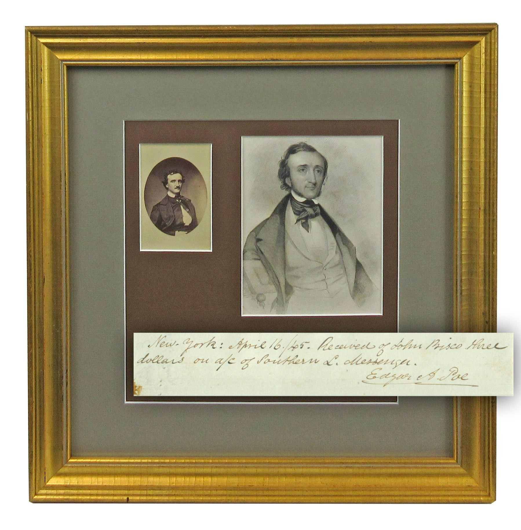 """Edgar Allan Poe Signed Receipt Likely for Printing of """"The Raven"""" -- An Exceptional Literary Rarity"""