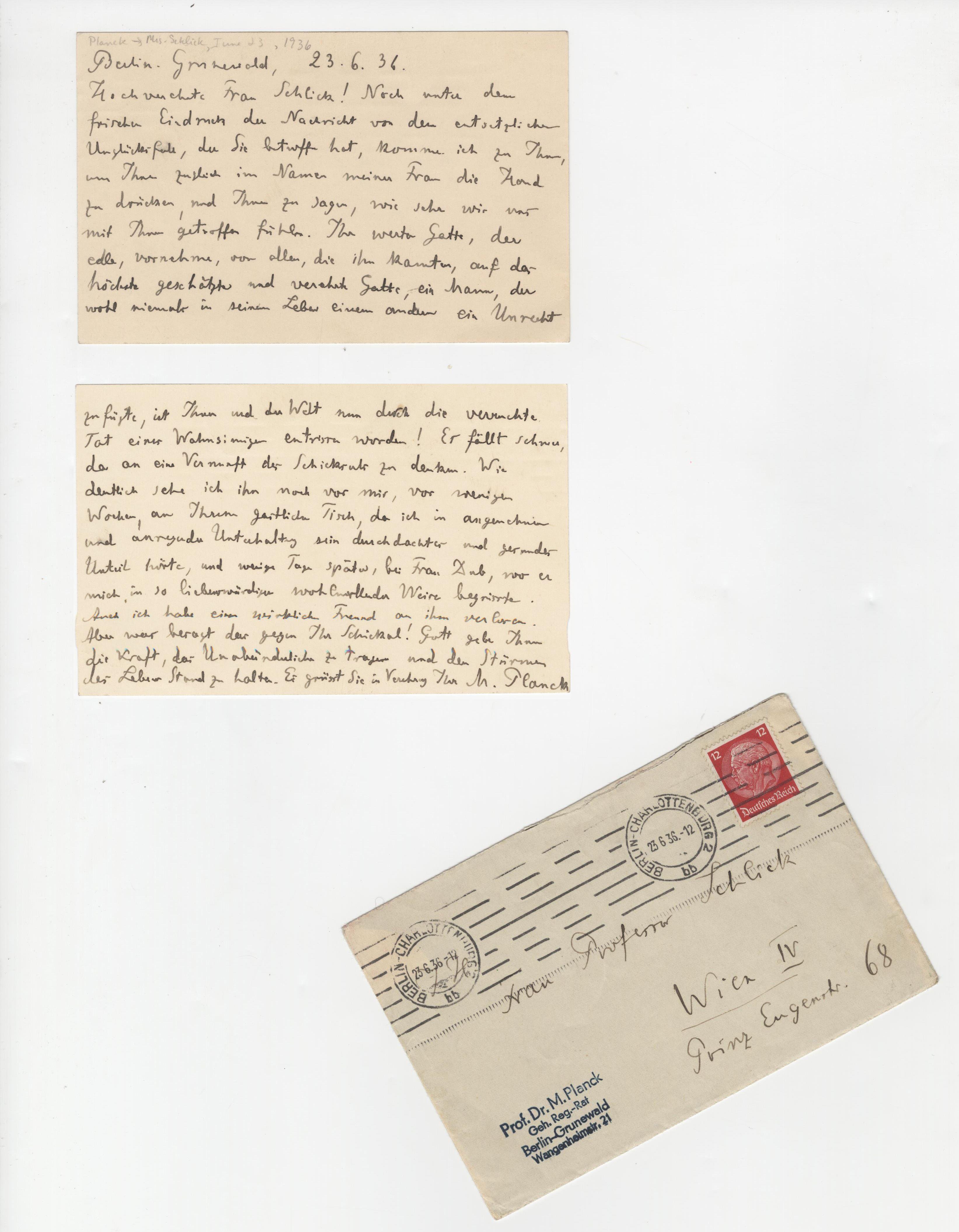 Nobel Laureate Max Planck Signed Letter on The Murder of Moritz Schlick