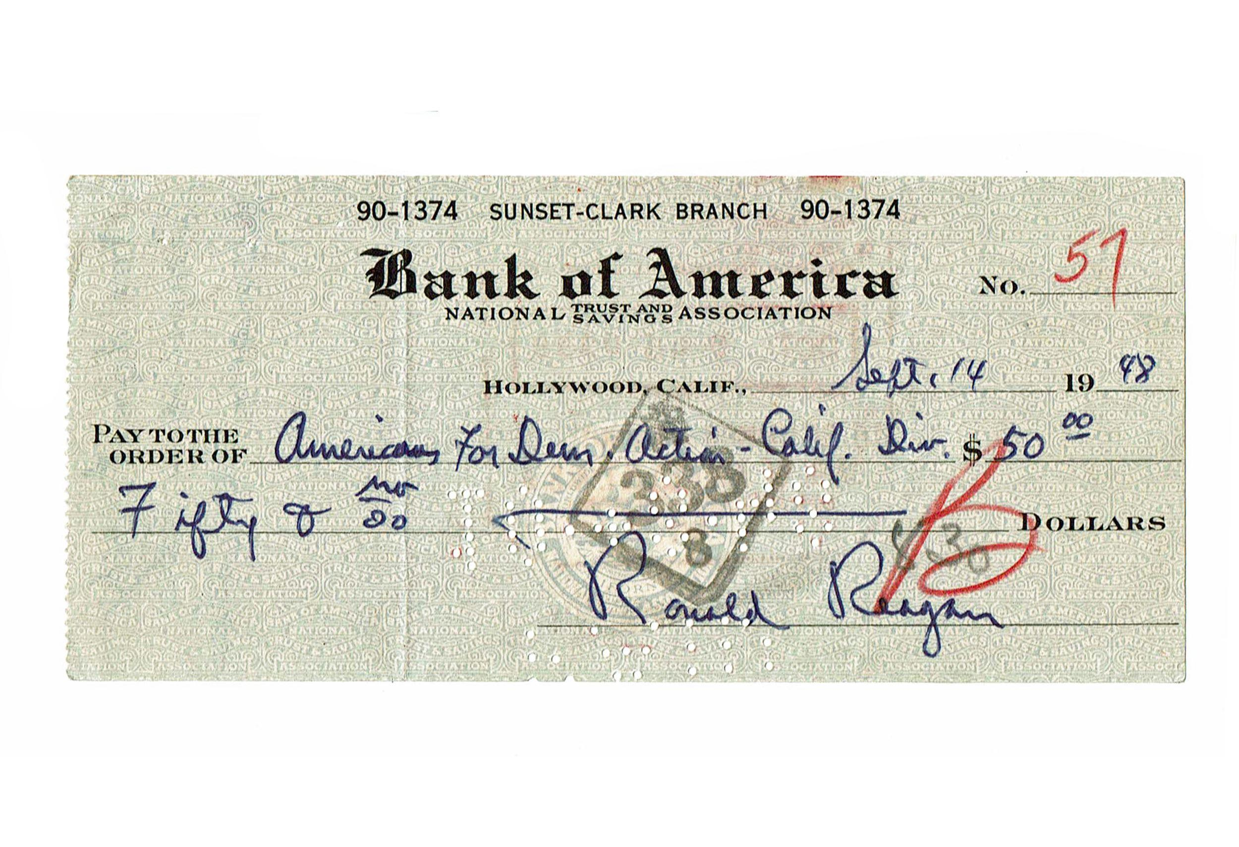Republican Icon Ronald Reagan Supports Democratic Organization, Unique Bank Check