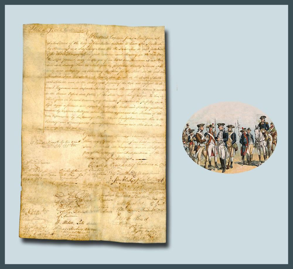 H. Laurens, E. Rutledge, 3 Pinkneys, J. Rutledge, W. Moultrie and Many More Sign Important South Carolina Document