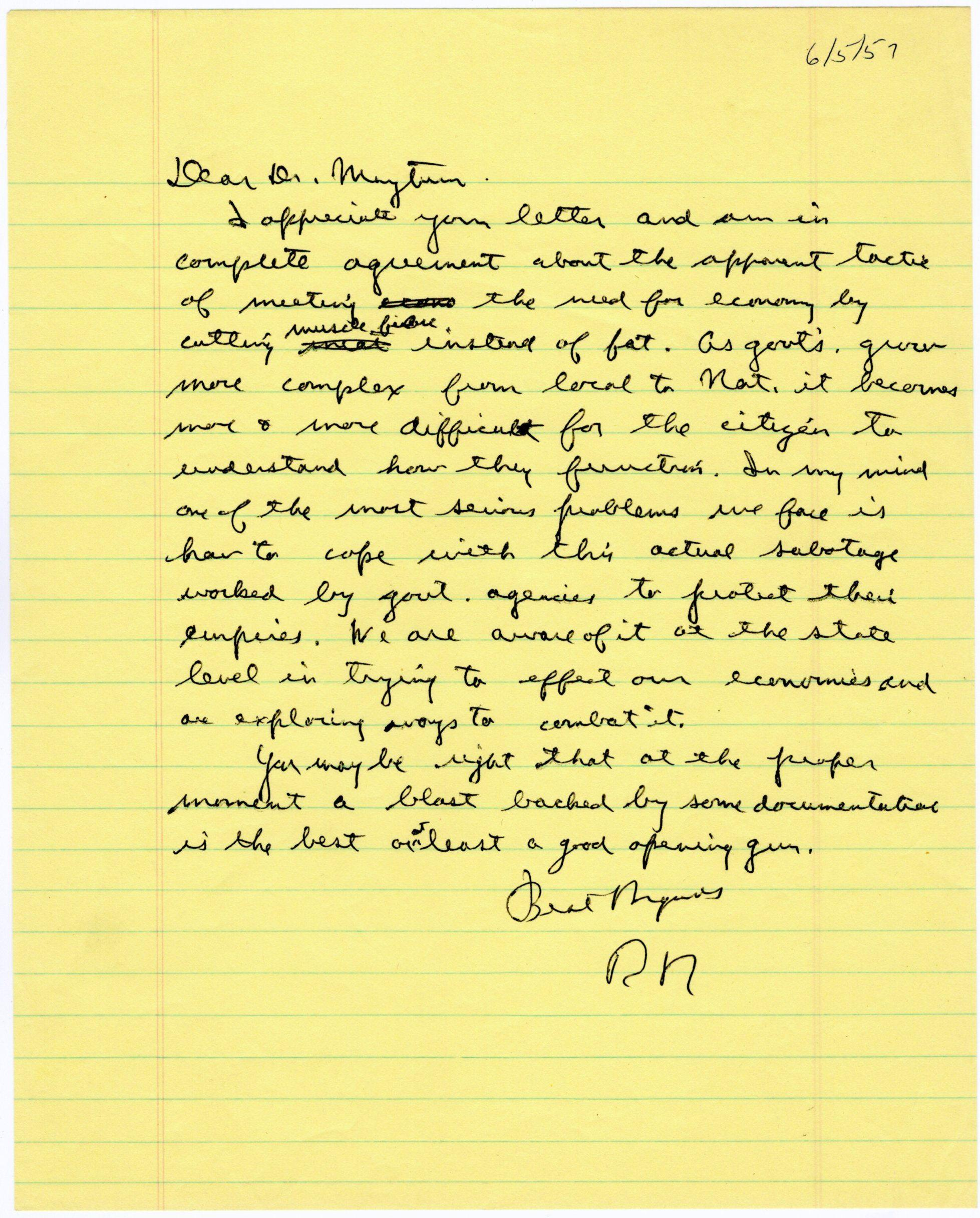 Reagan Writes to Physician about Government Waste