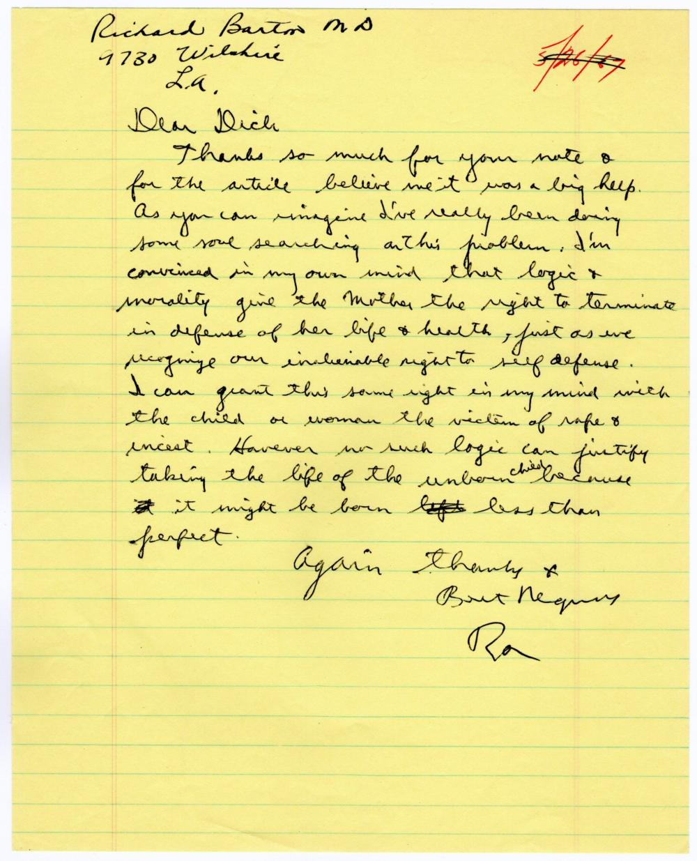 Fantastic Reagan Letter on Abortion