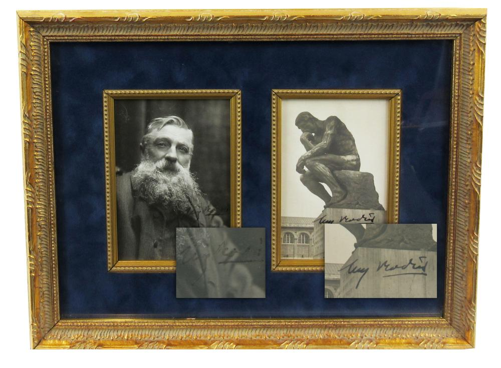 """Auguste Rodin 2x Signed Handsome Display Featuring His Most Iconic Sculpture, """"The Thinker"""""""