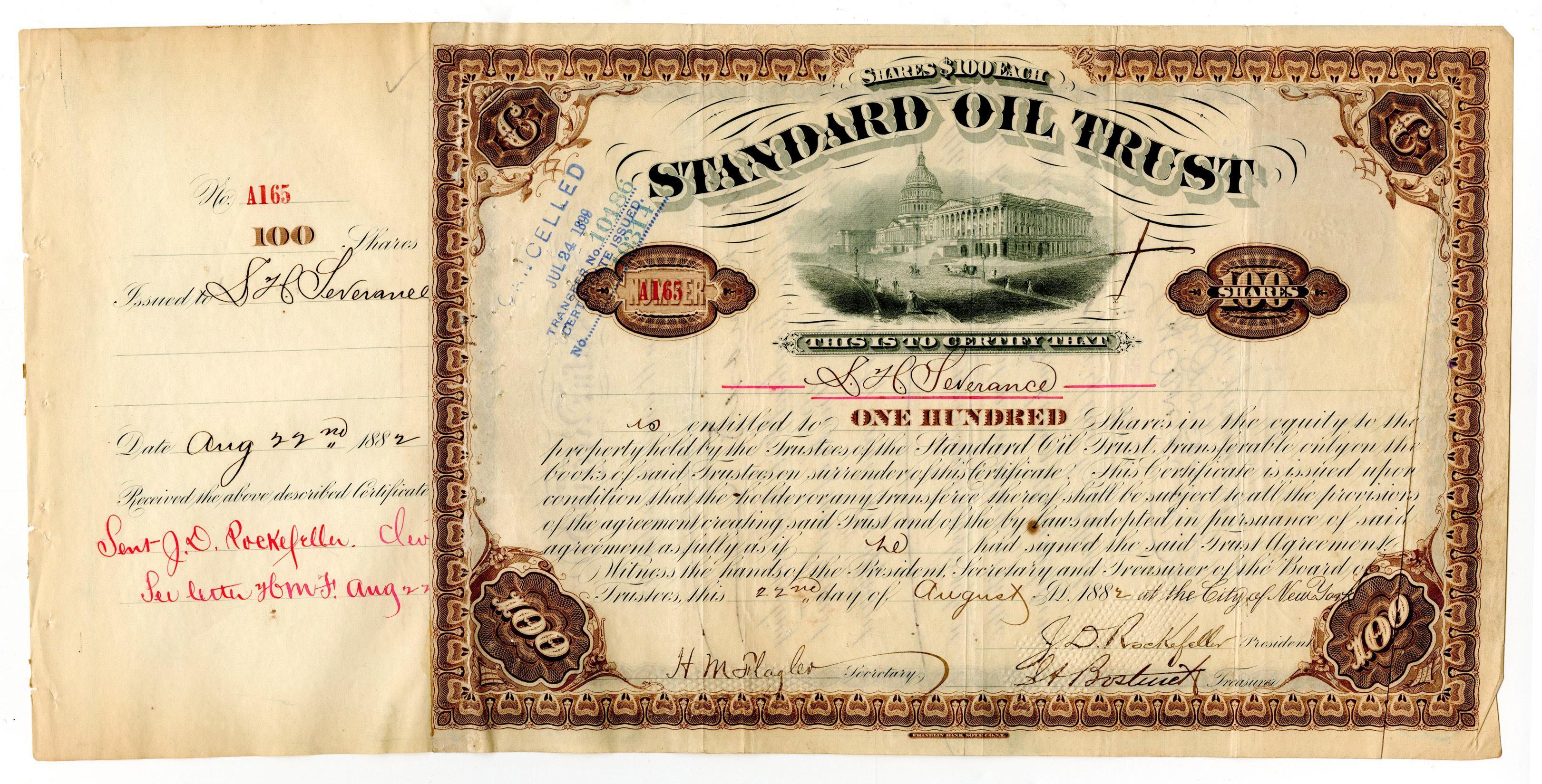 John D. Rockefeller & Henry M. Flagler Signed Standard Oil Stock Certificate